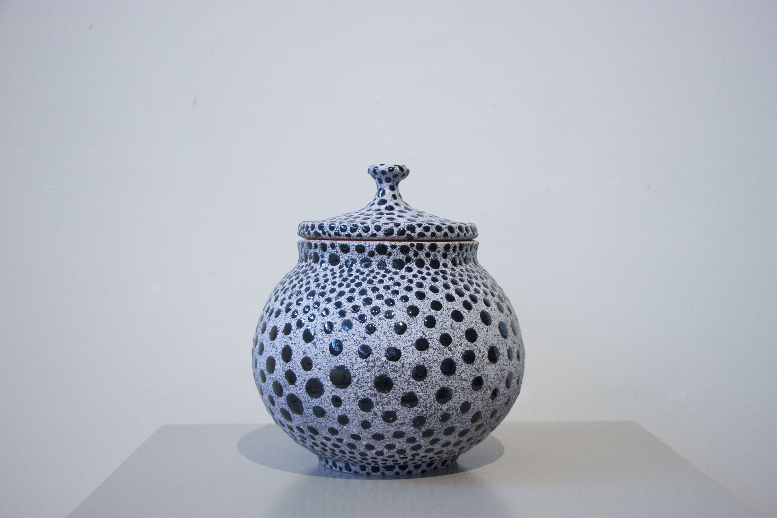 """William Yonker, """"Lidded Jar #227,"""" 2016, earthenware, 8"""" x 7"""""""
