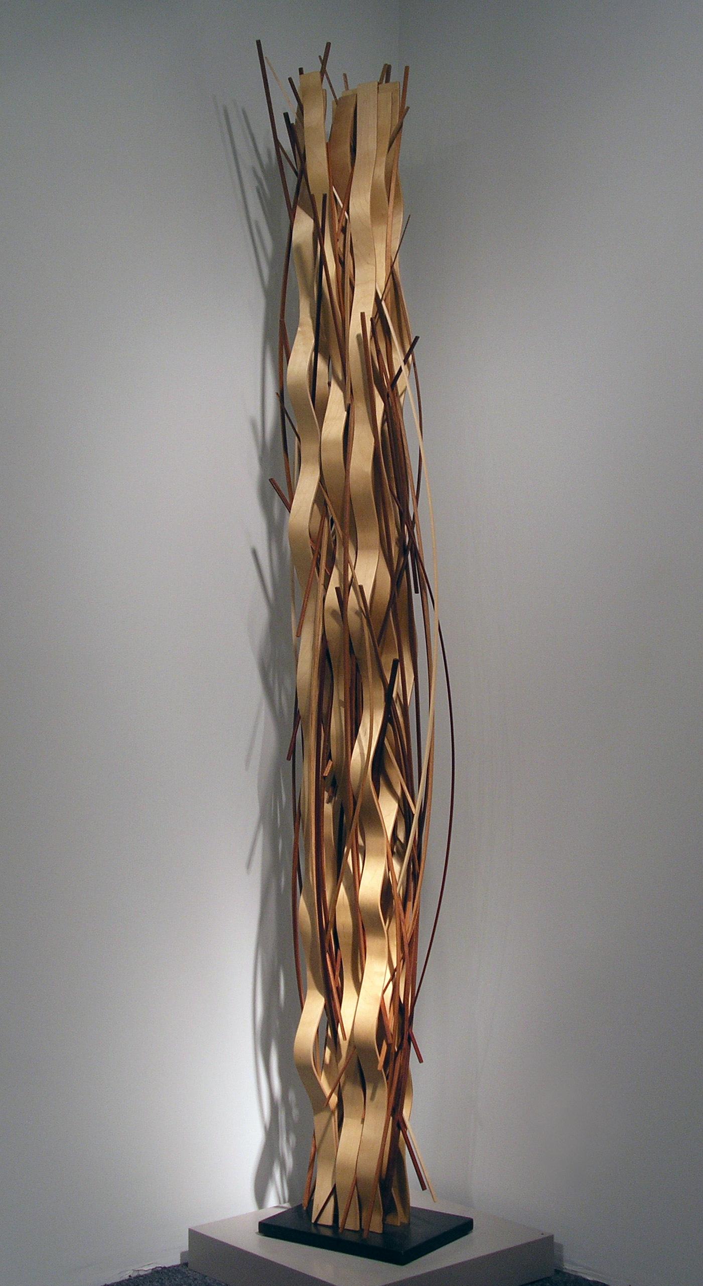 "John Schwartzkopf, ""Ribbon Waveform II,"" 2005 , environ base, birch, and various woods, 95 3/4"" x 15"" x 11"""