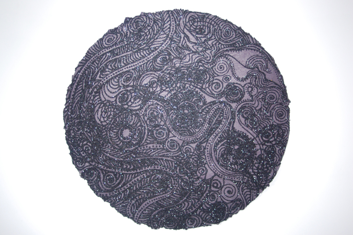 "Christopher Tanner, ""Total Eclipse,"" 2008, mixed media on handmade paper, 39"" diameter"