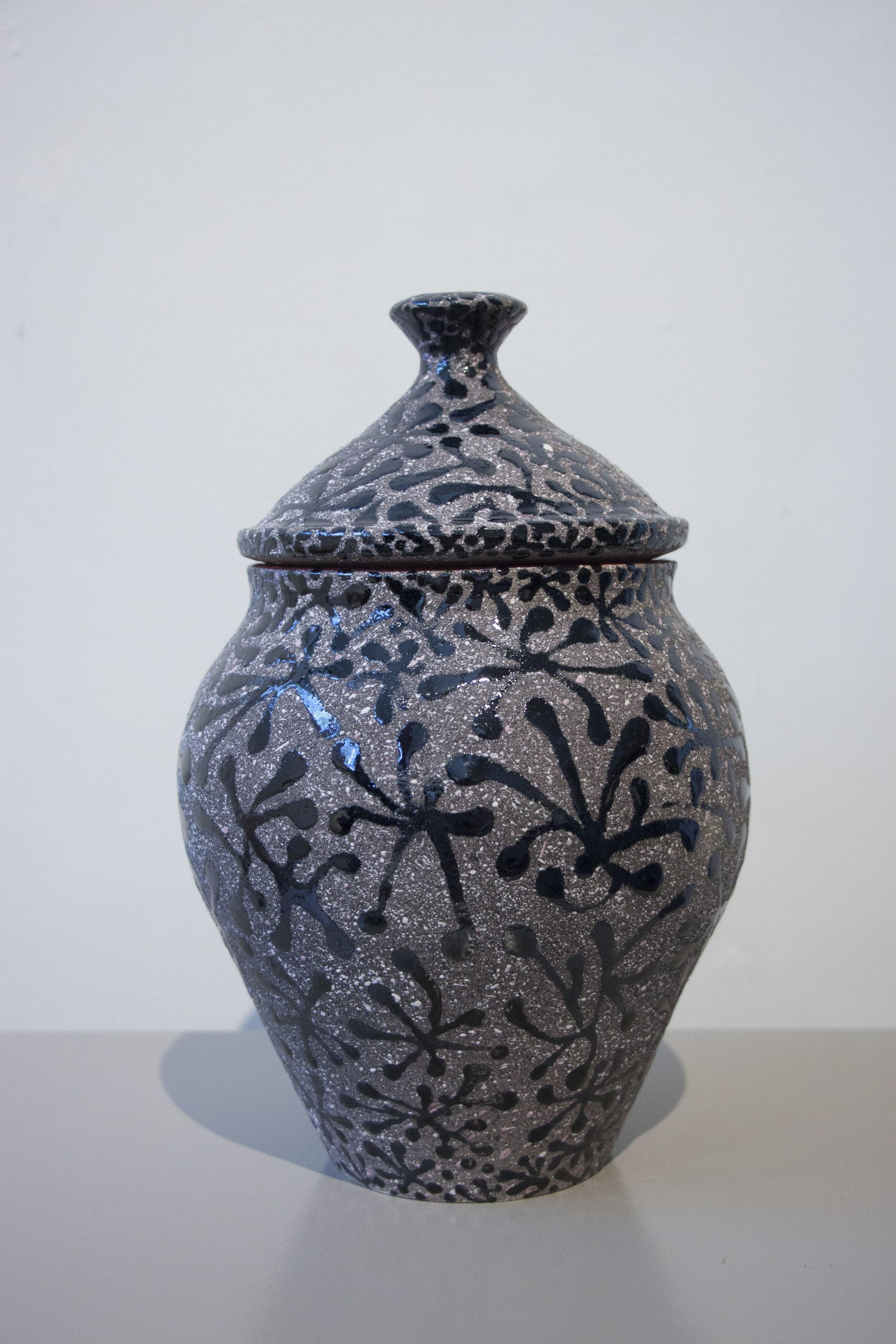 """William Yonker, """"Lidded Jar #223,"""" 2016, earthenware, 10"""" x 6 1/2"""""""