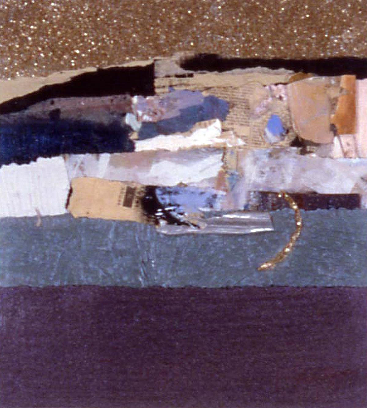 "Janet Sorokin, ""Lunar Gold,"" 2001, acrylic/collage, 19 1/4"" x 18 1/4"""
