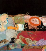 "Janet Sorokin, ""Happening,"" 2006, mixed media acrylic collage, 22"" x 22 1/2"""