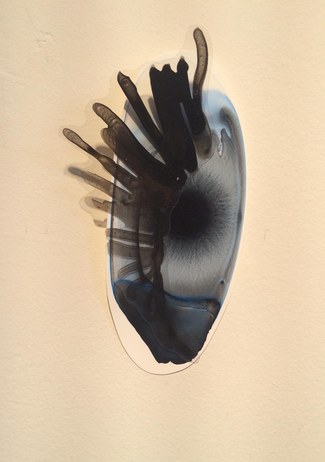 "Katy Stone, ""Other World 30,"" 2013, acrylic on Duralar, pins, 4"" x 2 1/2"" x 1"""
