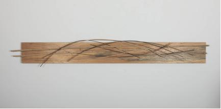 "John Schwartzkopf, ""Bamboo Panel,"" 2013, bamboo, plywood, various woods, 13"" x 91"" x 2 1/2"""