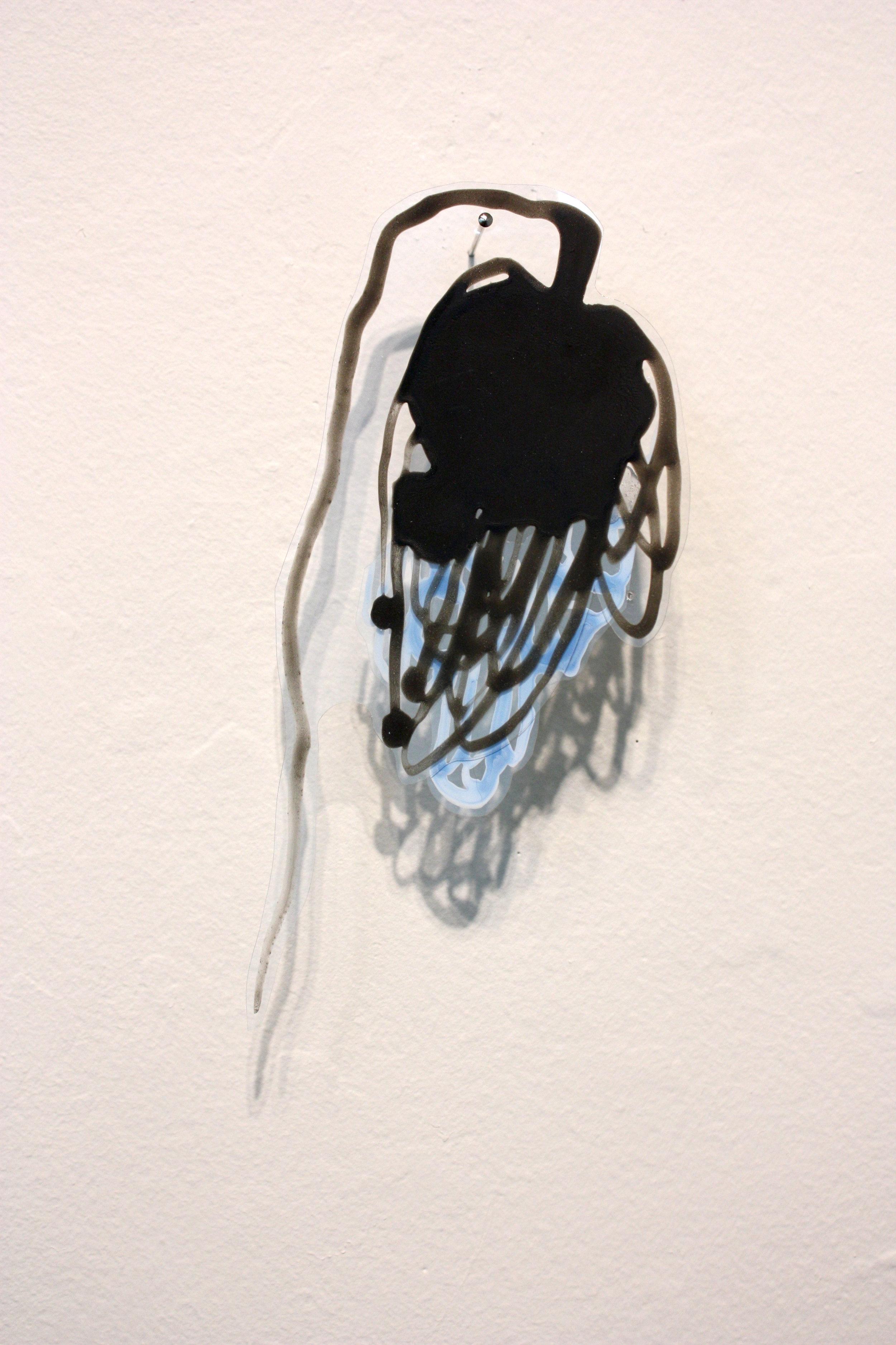 "Katy Stone, ""Other World 21,"" 2013, acrylic on Duralar, pins, 4"" x 2 1/2"" x 1"""
