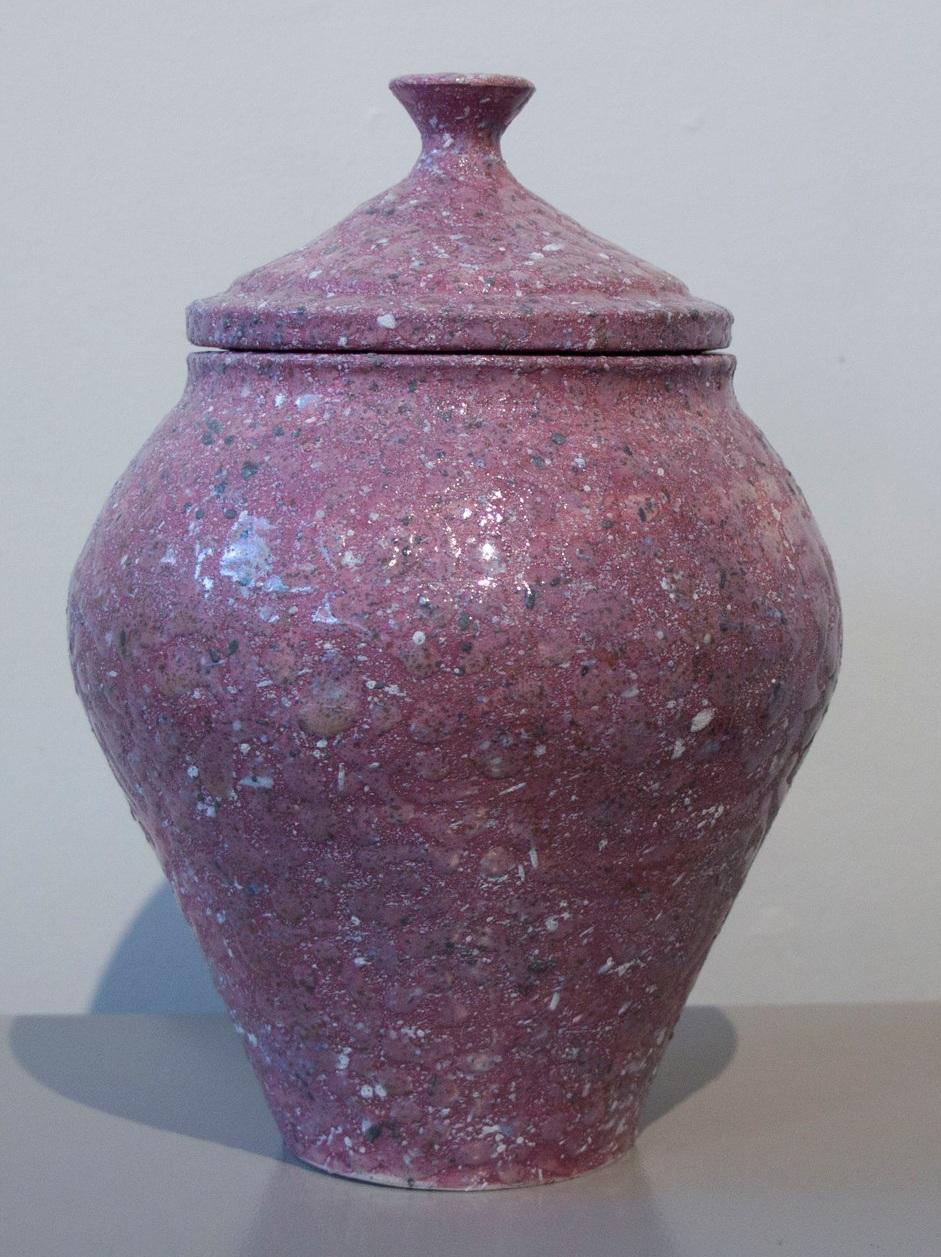 """William Yonker, """"Lidded Jar #226,"""" 2016, earthenware, 10 1/2"""" x 7"""""""