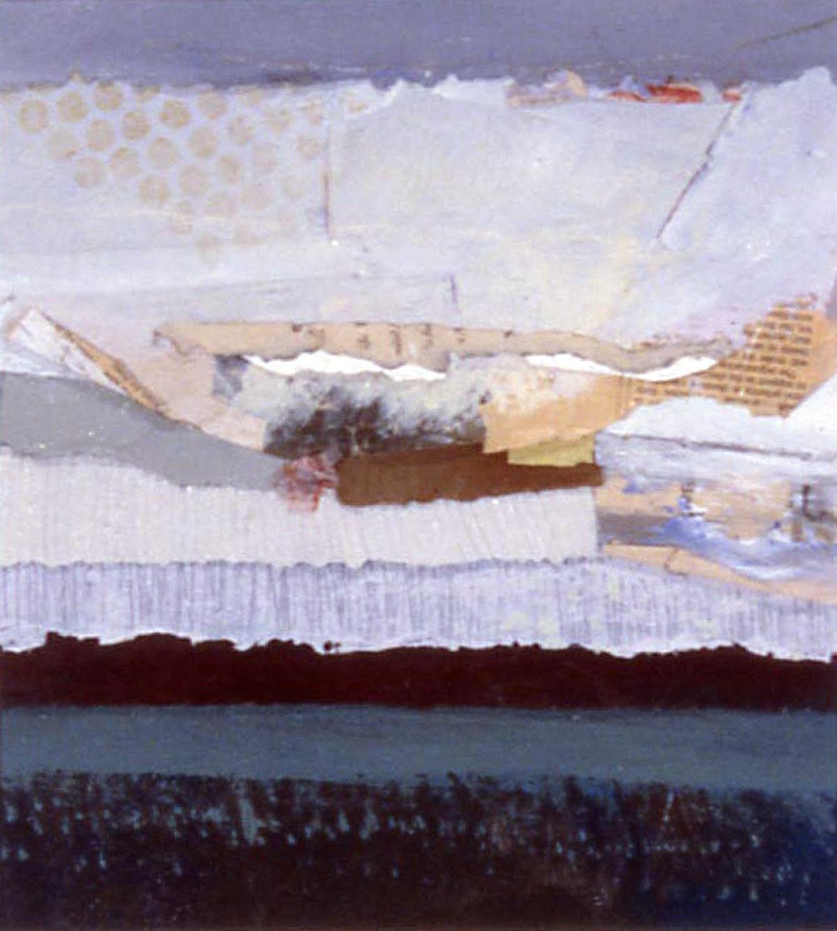 """Janet Sorokin, """"Oasis,"""" 2000, acrylic/collage, 19 1/4"""" x 18 1/4"""""""
