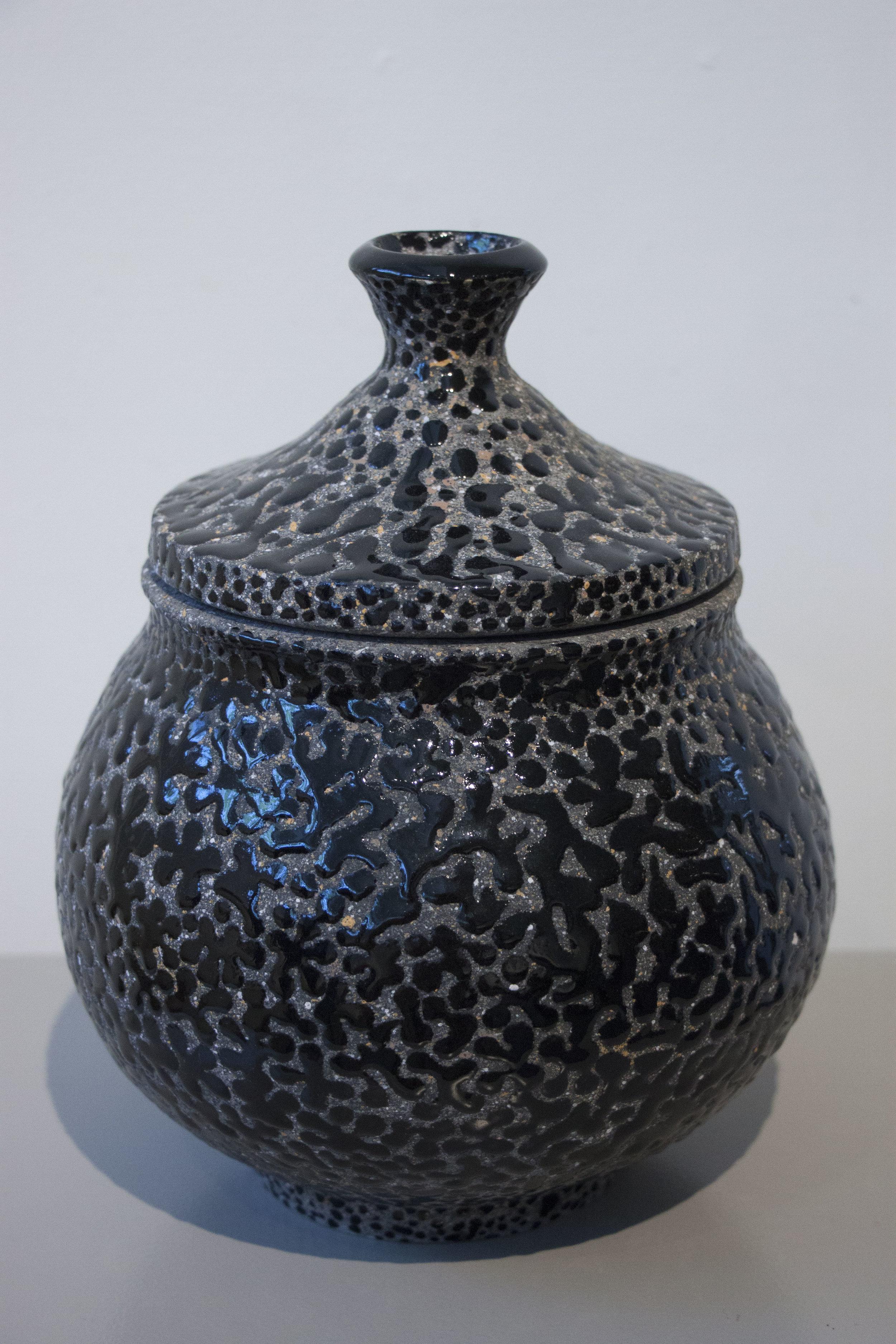 """William Yonker, """"Lidded Jar #122,"""" 2017, earthenware, 9 1/2"""" x 7"""""""