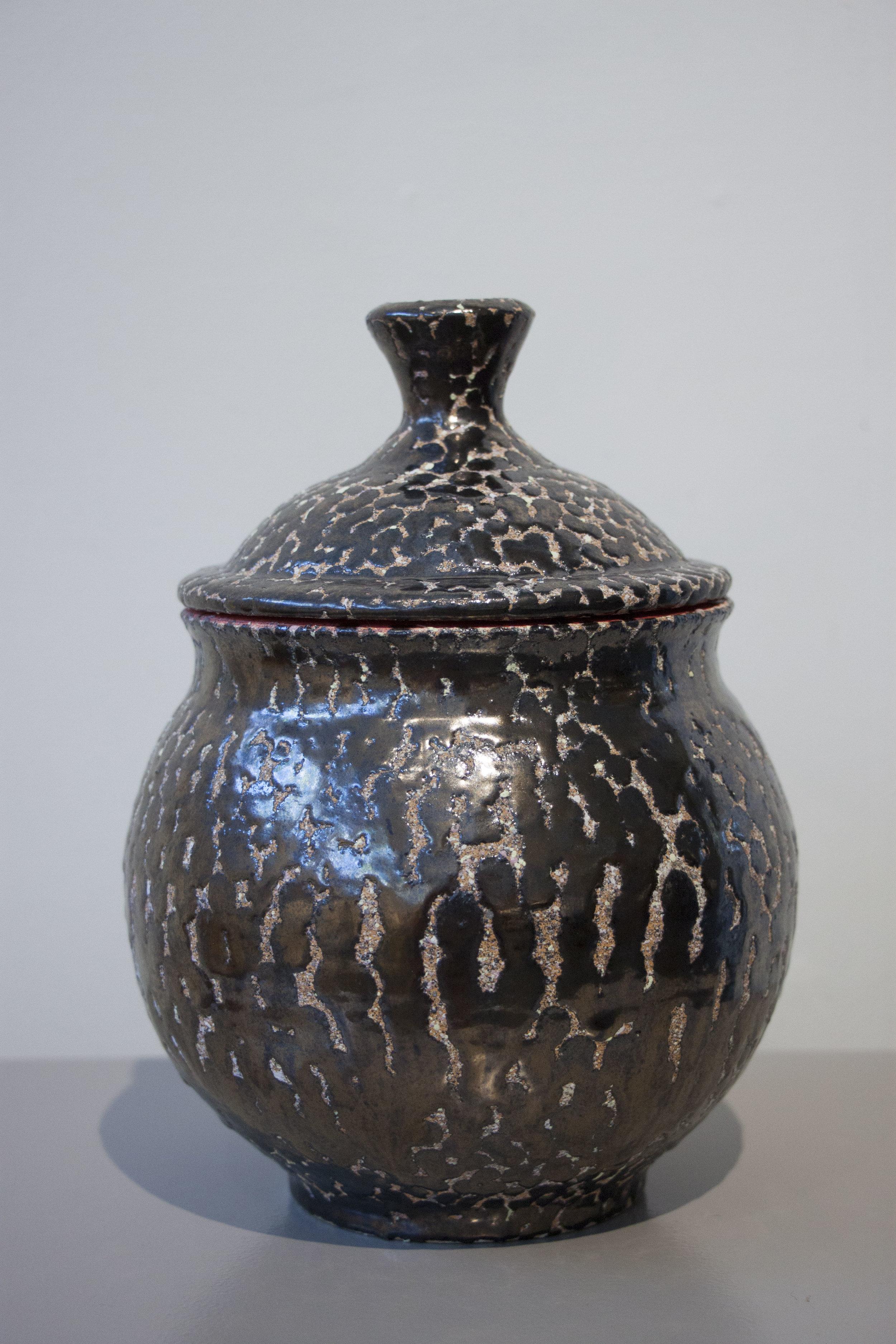 """William Yonker, """"Lidded Jar #224,"""" 2016, earthenware, 8 1/2"""" x 6 1/2"""""""