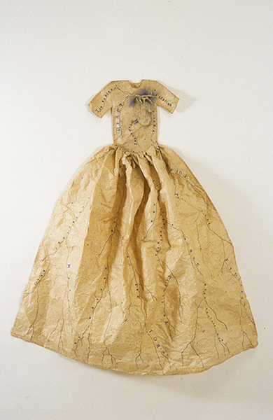 """Lesley Dill """"Poem Dress of Circulation,"""" 1993, acrylic, lithography, thread on chiri kozo paper, 48"""" x 41 ½"""" x 8"""""""