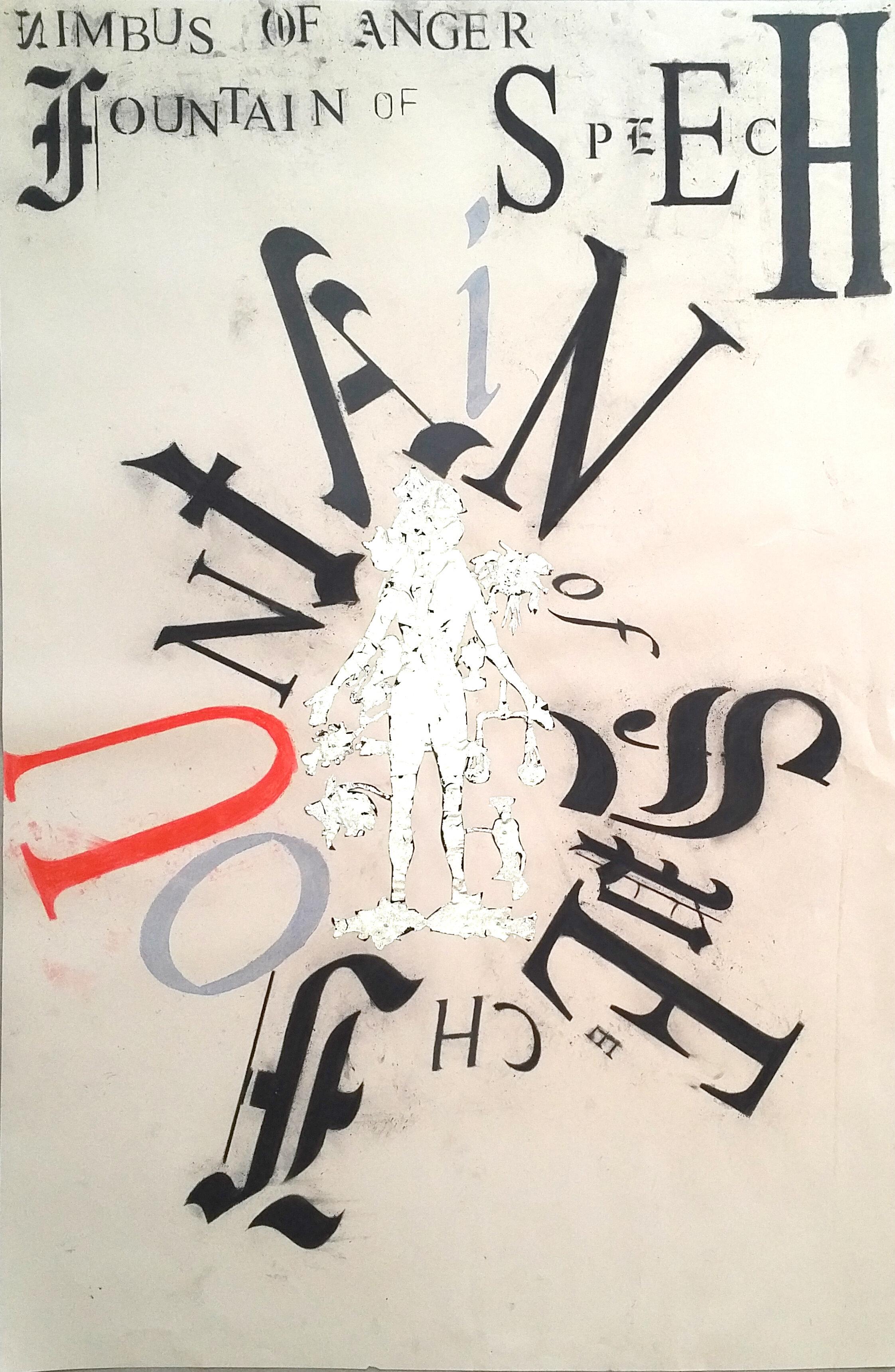 "Lesley Dill ""Nimbus,"" 2010, charcoal, colored pencil, foil on paper, 38"" x 25"""