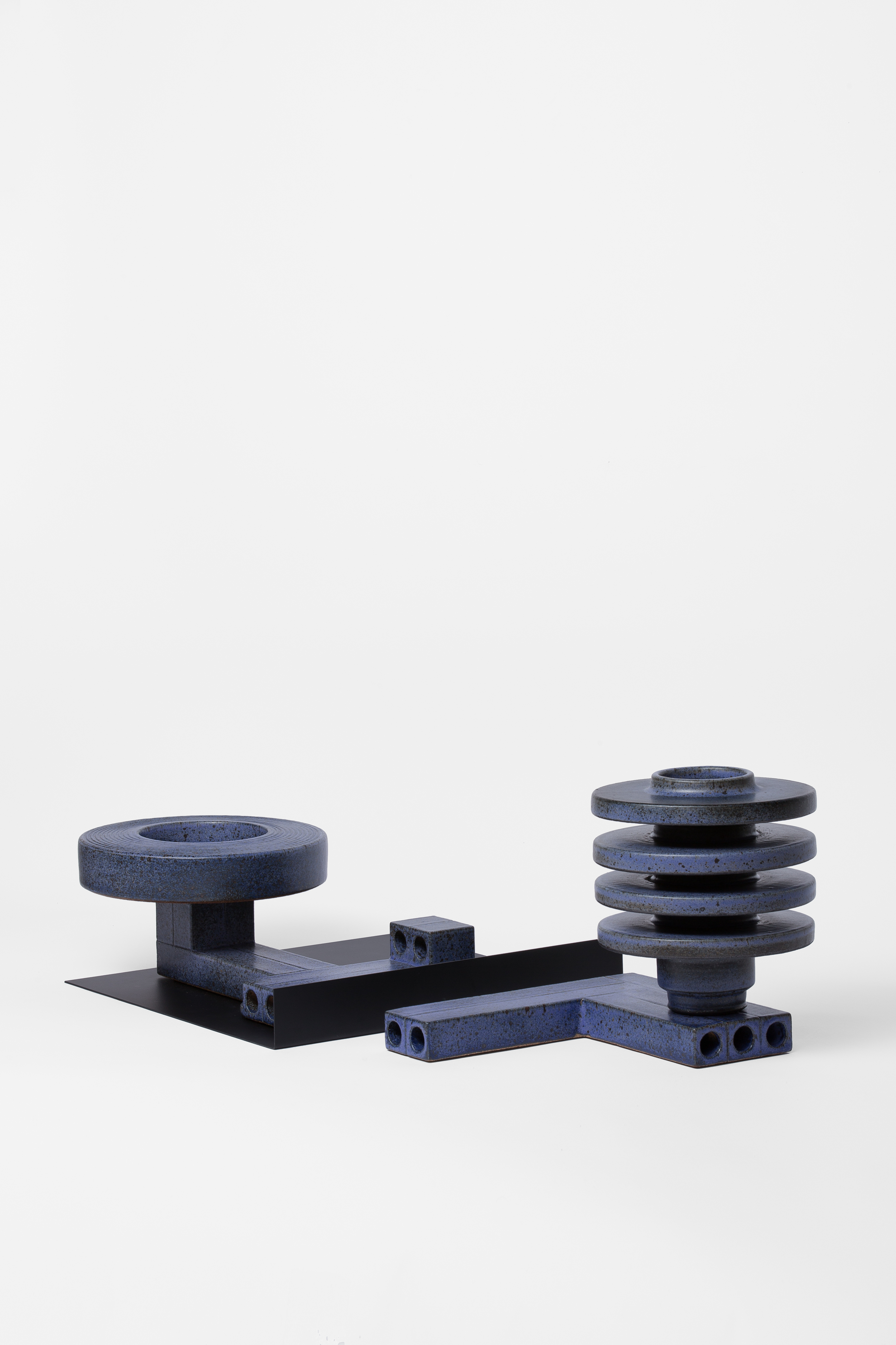 Level Vessel (w/ L-Shaped foot) & Blue Double Wall Bowl on Extruded Pedestal (w/black tray)