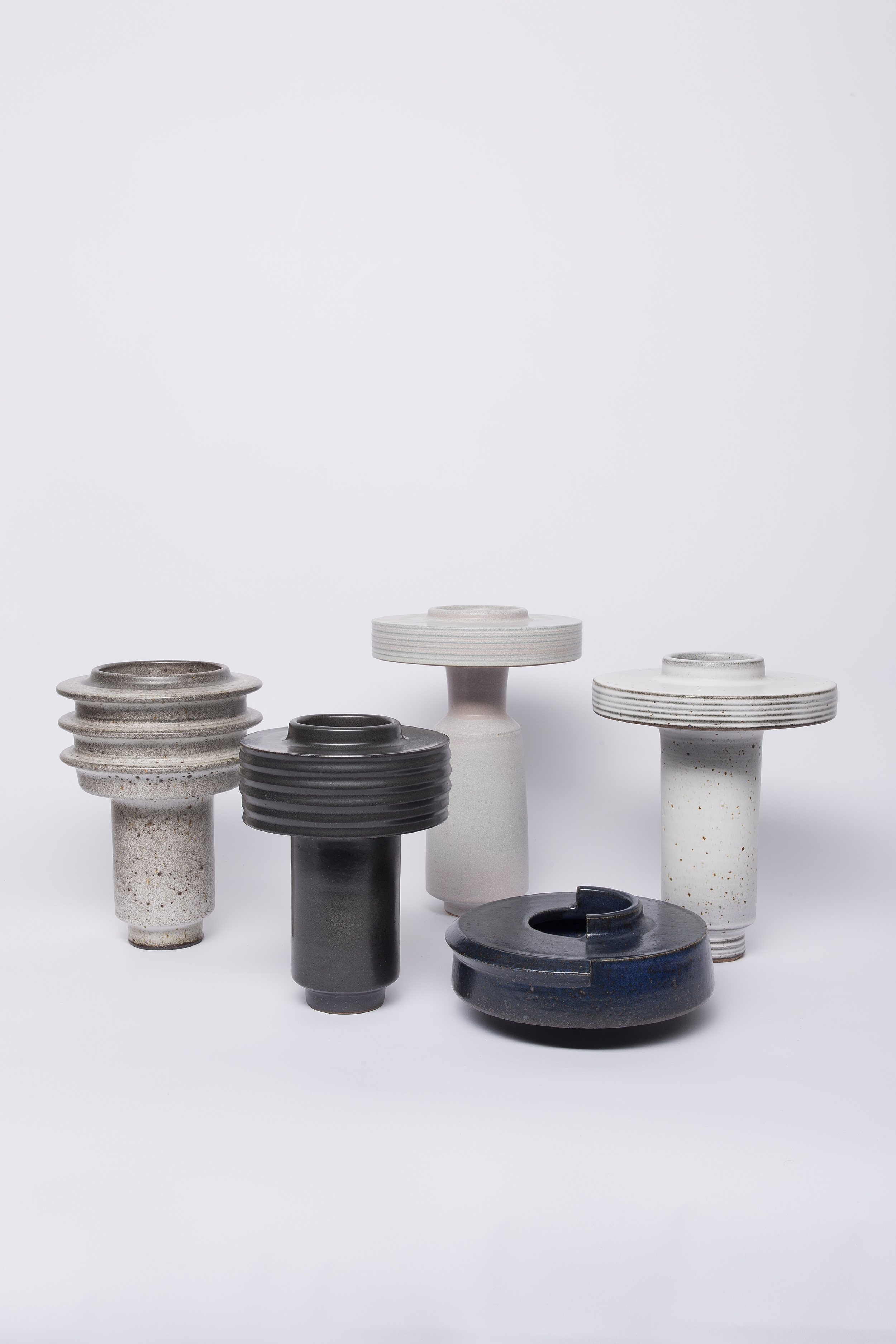 Drum Vessel (Ribs/White+Black over), Shade Vessel (Deep Black), Shade Vessel (Grey), Shade Vessel (Missing + added parts)(blue), Shade Vessel (Black/white)