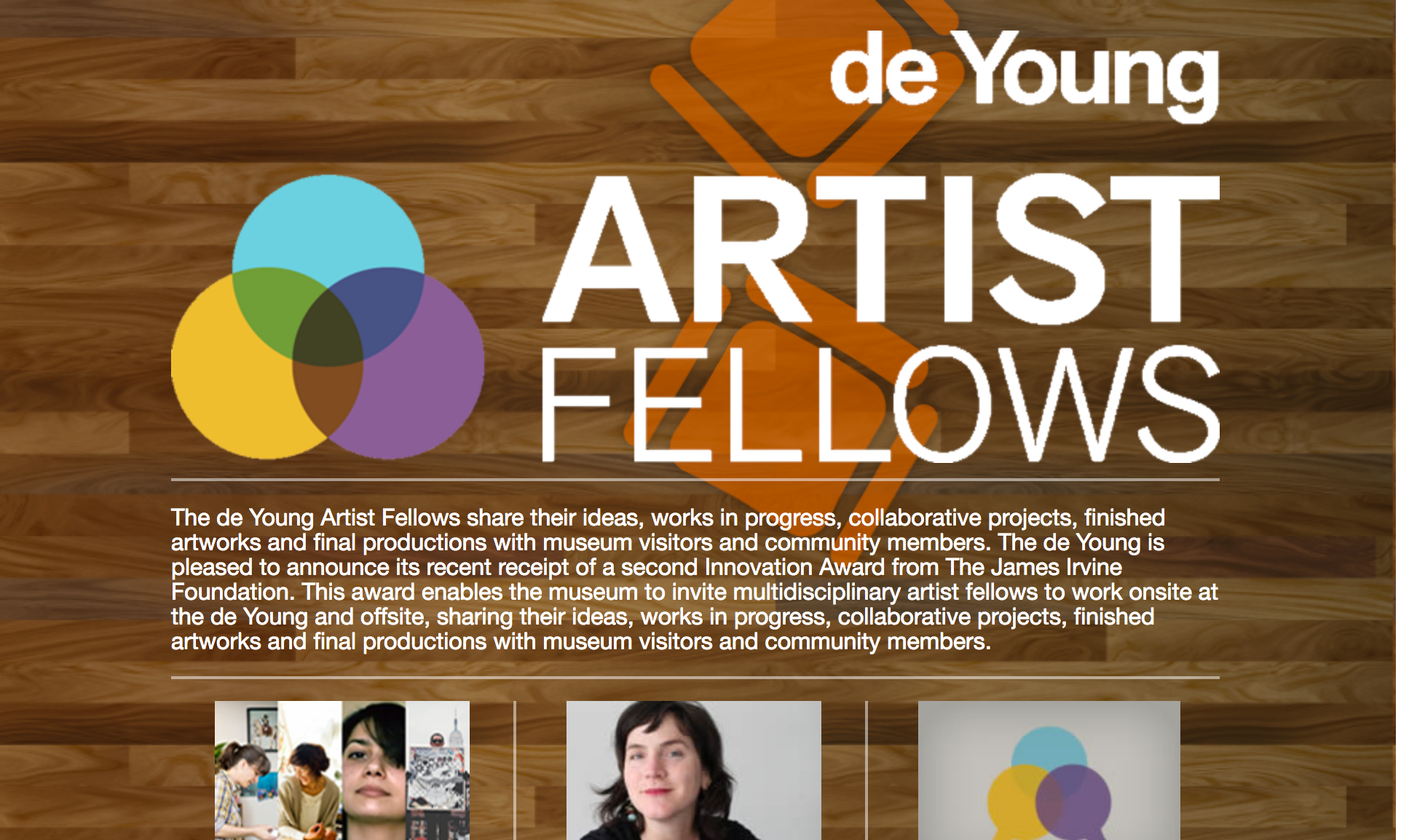 DeYoung Artist Fellows Project, Fine Arts Museums SF  ArtWorkSpace Concept Webapp highlighting the ongoing work of 5 artists