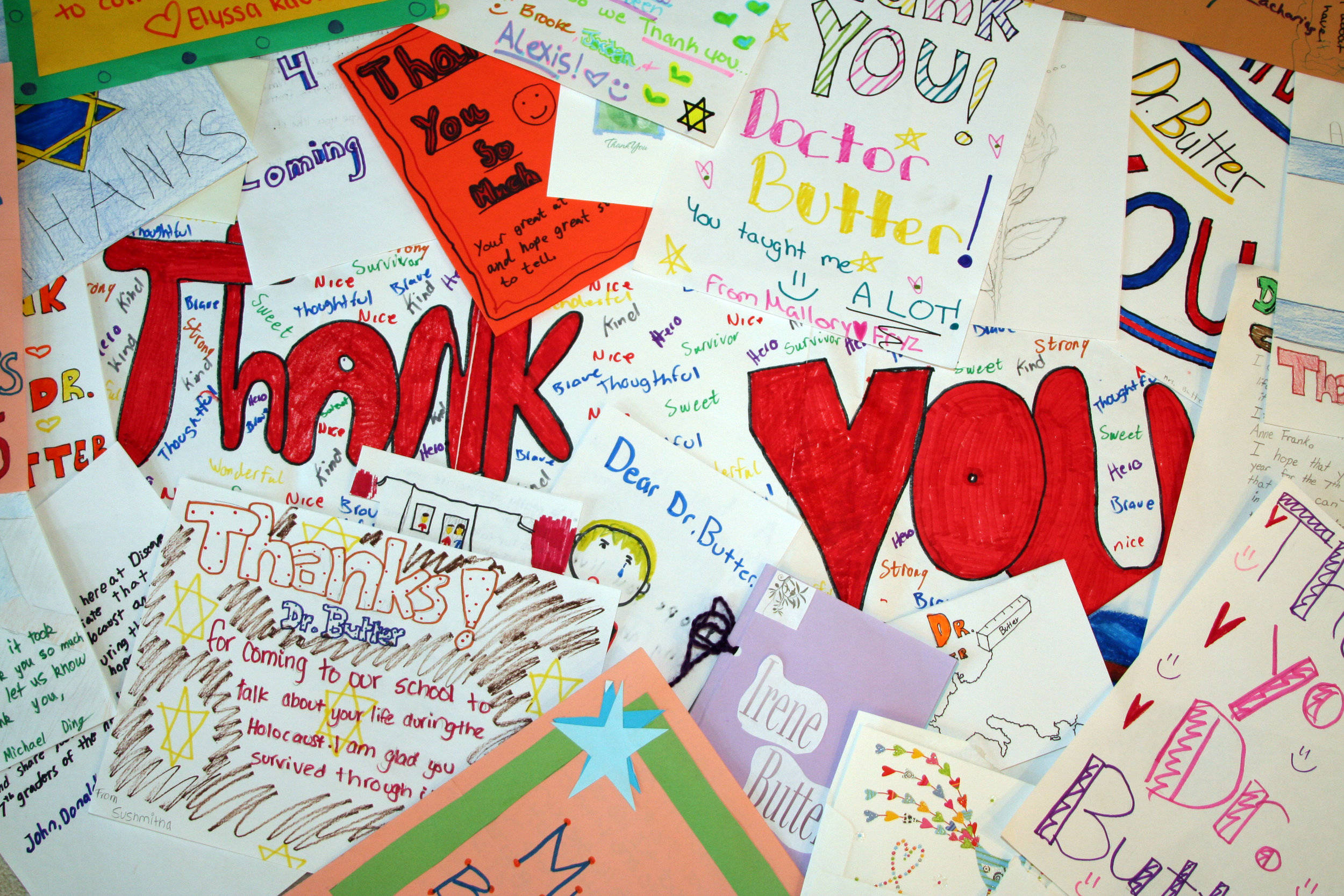 Examples of the hundreds of cards and artwork that Irene receives from students after her talks.