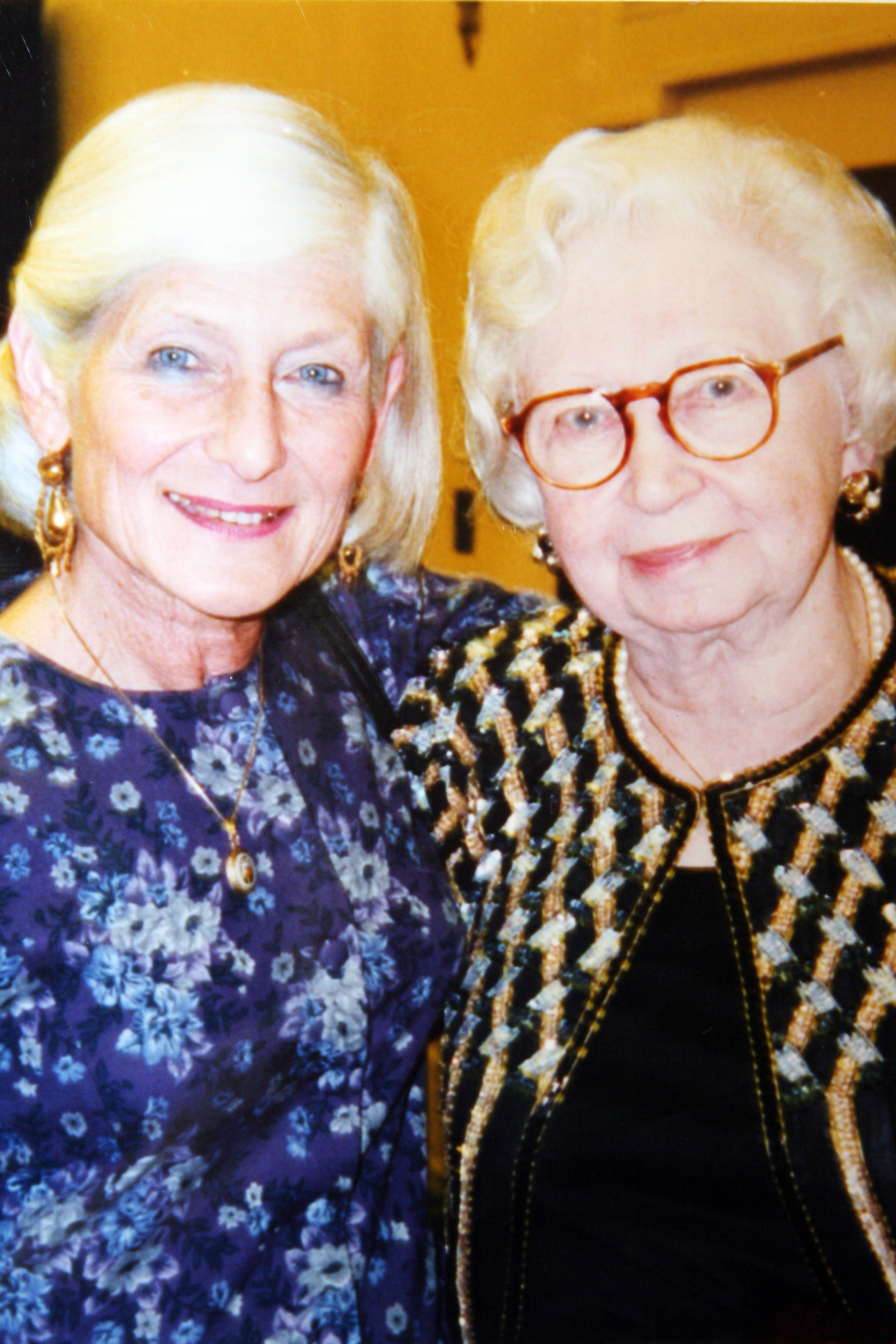 Irene with 1994 medal recipient Miep Gies who helped hide Anne Frank's family during World War II.