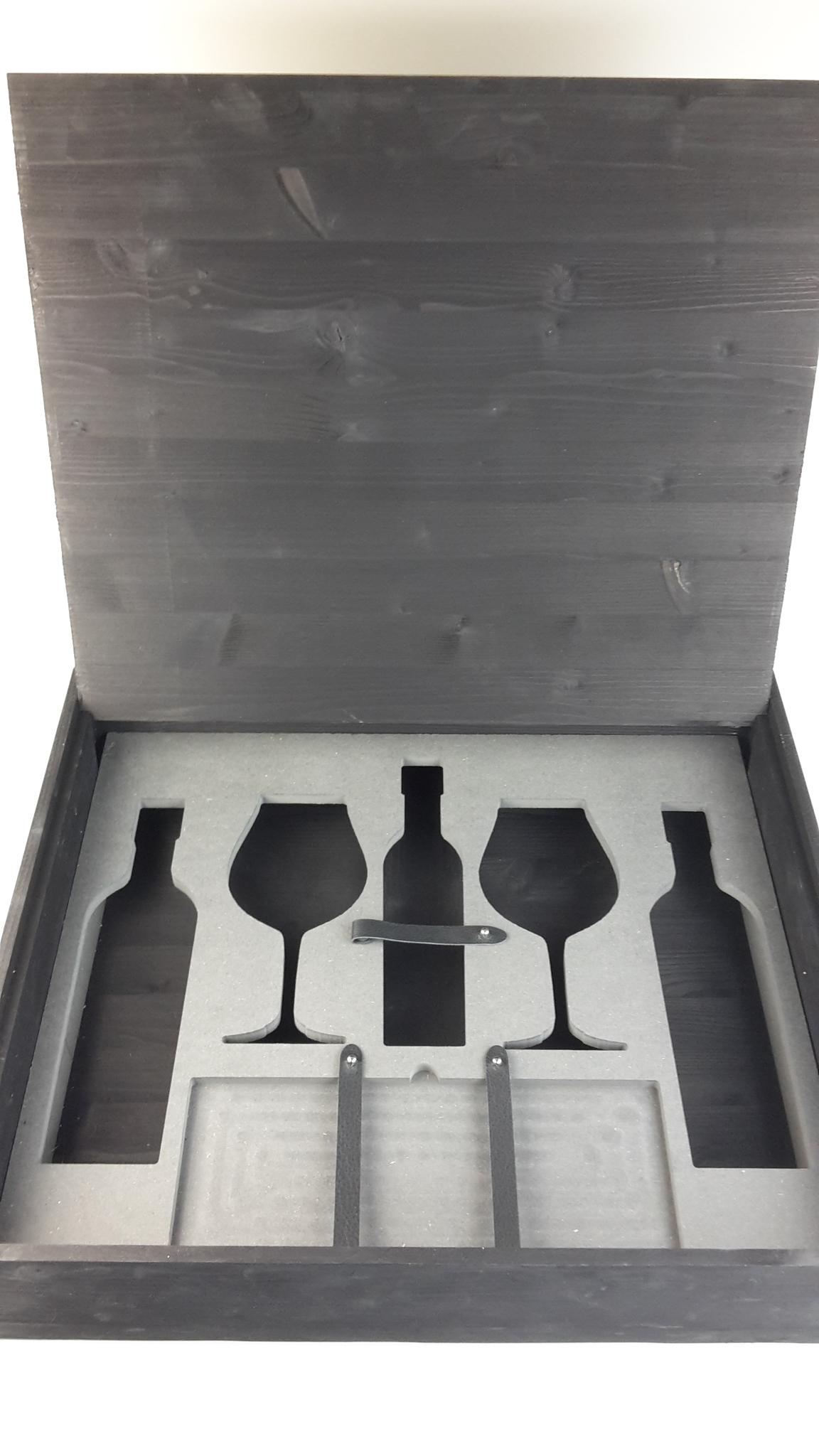 Weinkiste mit MDF Einlage für Flaschen und Gläser