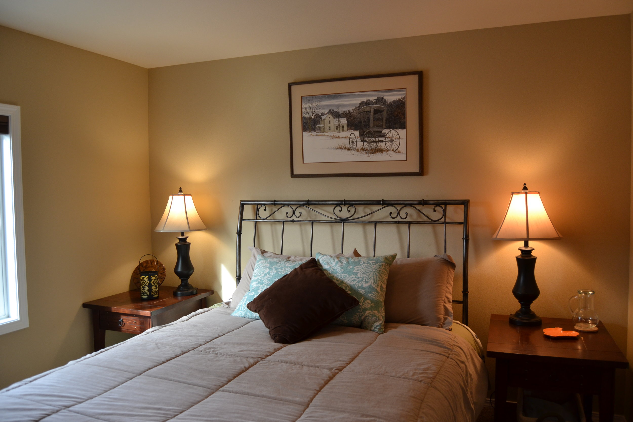 Your beautiful bedroom to rest after a wonderful day outside playing. You even have mountain views from your window.