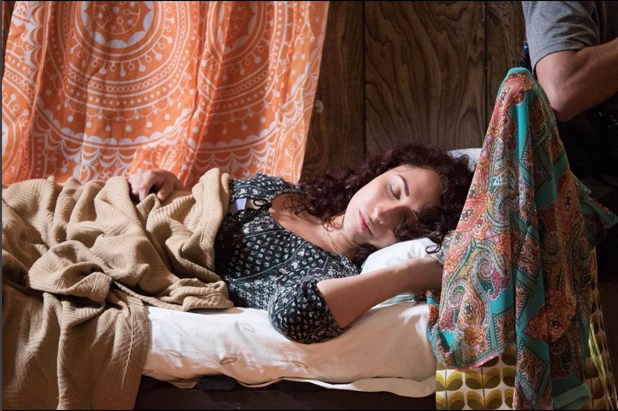 BTS: prep for the scene in which Bayla tries to sneak back into the bunk without waking Rivka (me), who is feeling the aftermath of too much Maischewitz!