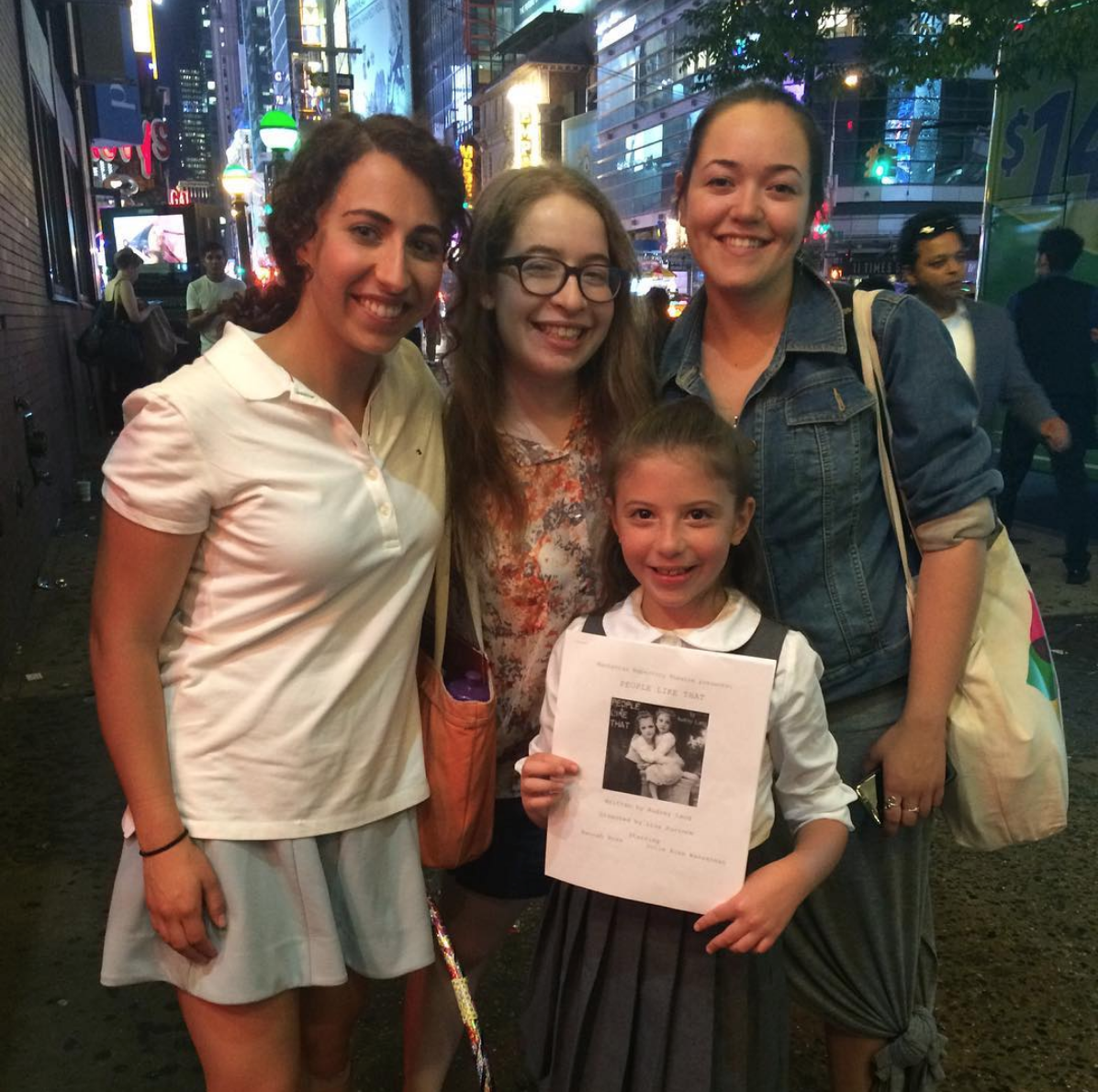 In the streets of Times Square just outside the theatre. From left to right: myself, Audrey, Jolie, and Lisa.