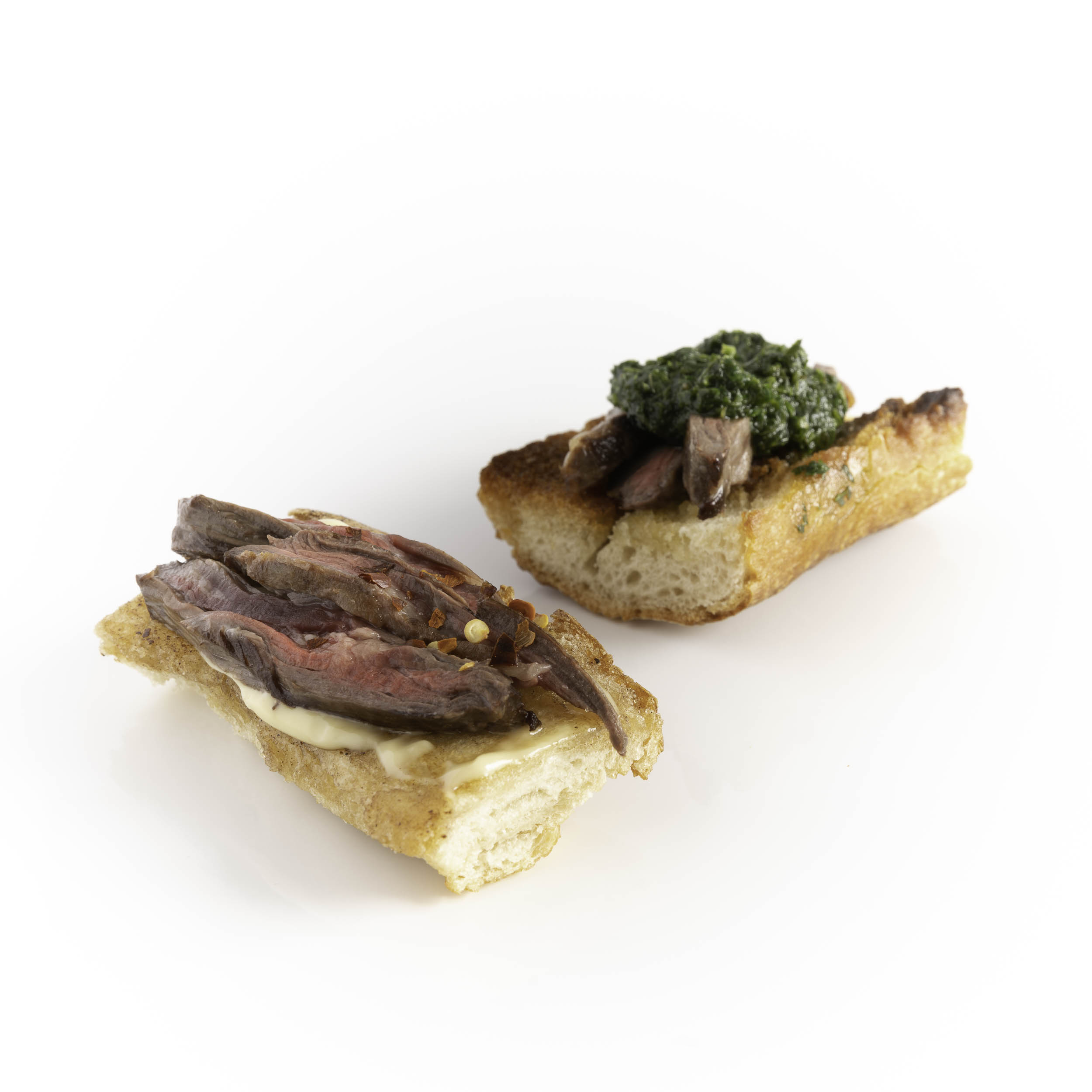 Skirt Steak w/ Horseradish Mayo & w/ Mint Chimichurri