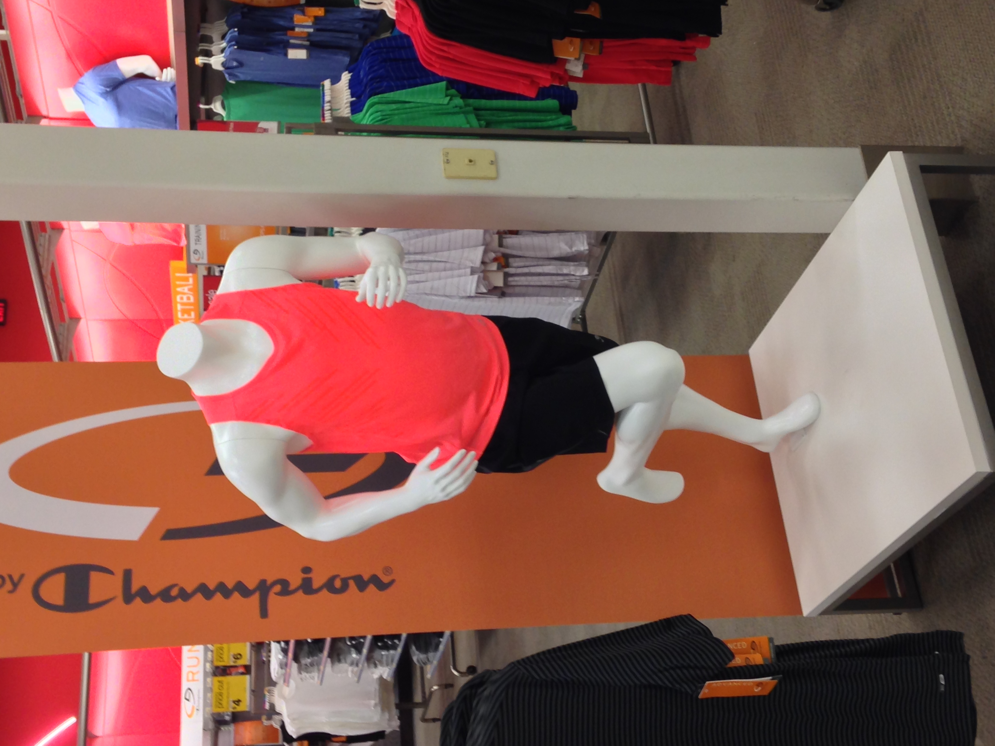 Also in the mens department we have a headless running man!