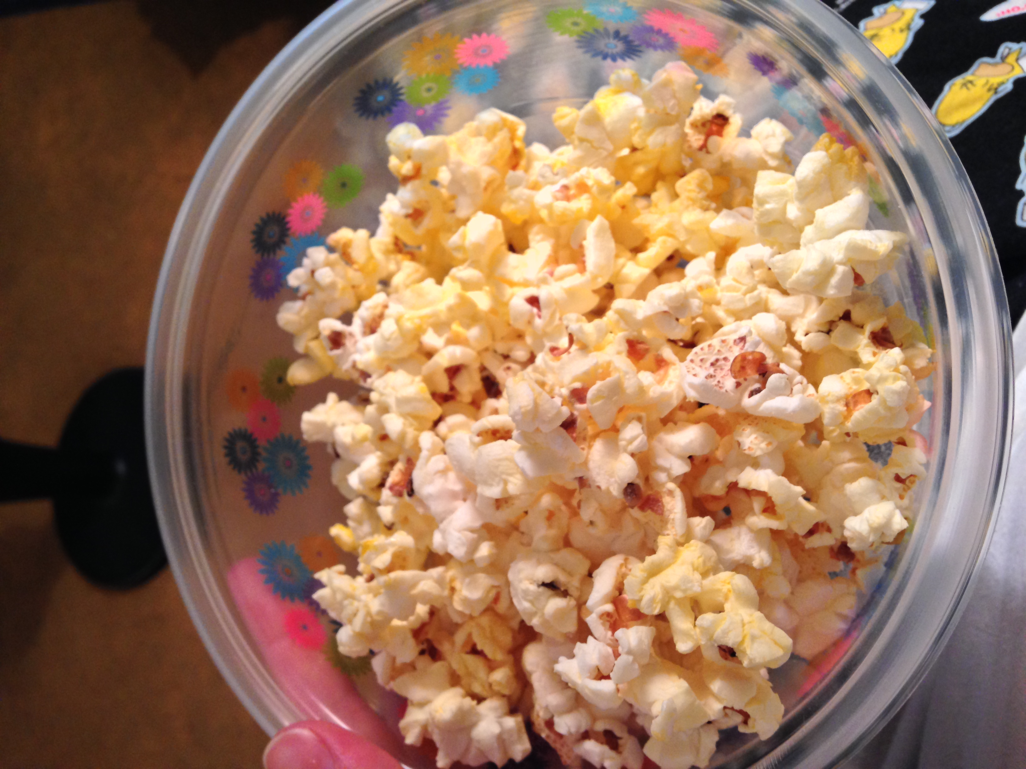 Popcorn for dessert while watching TV with my mom.