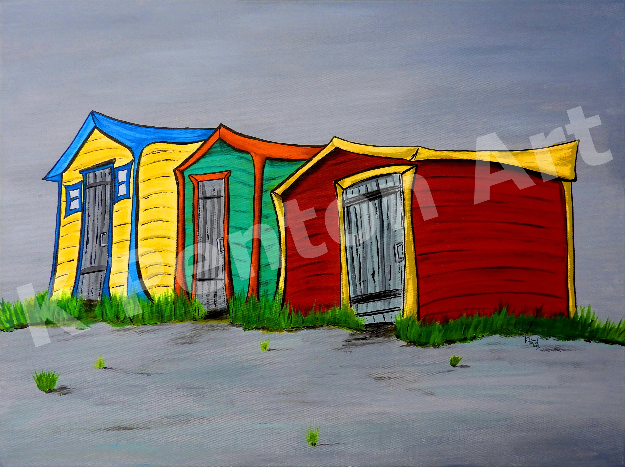 Three Sheds - (Original in Private Collection)