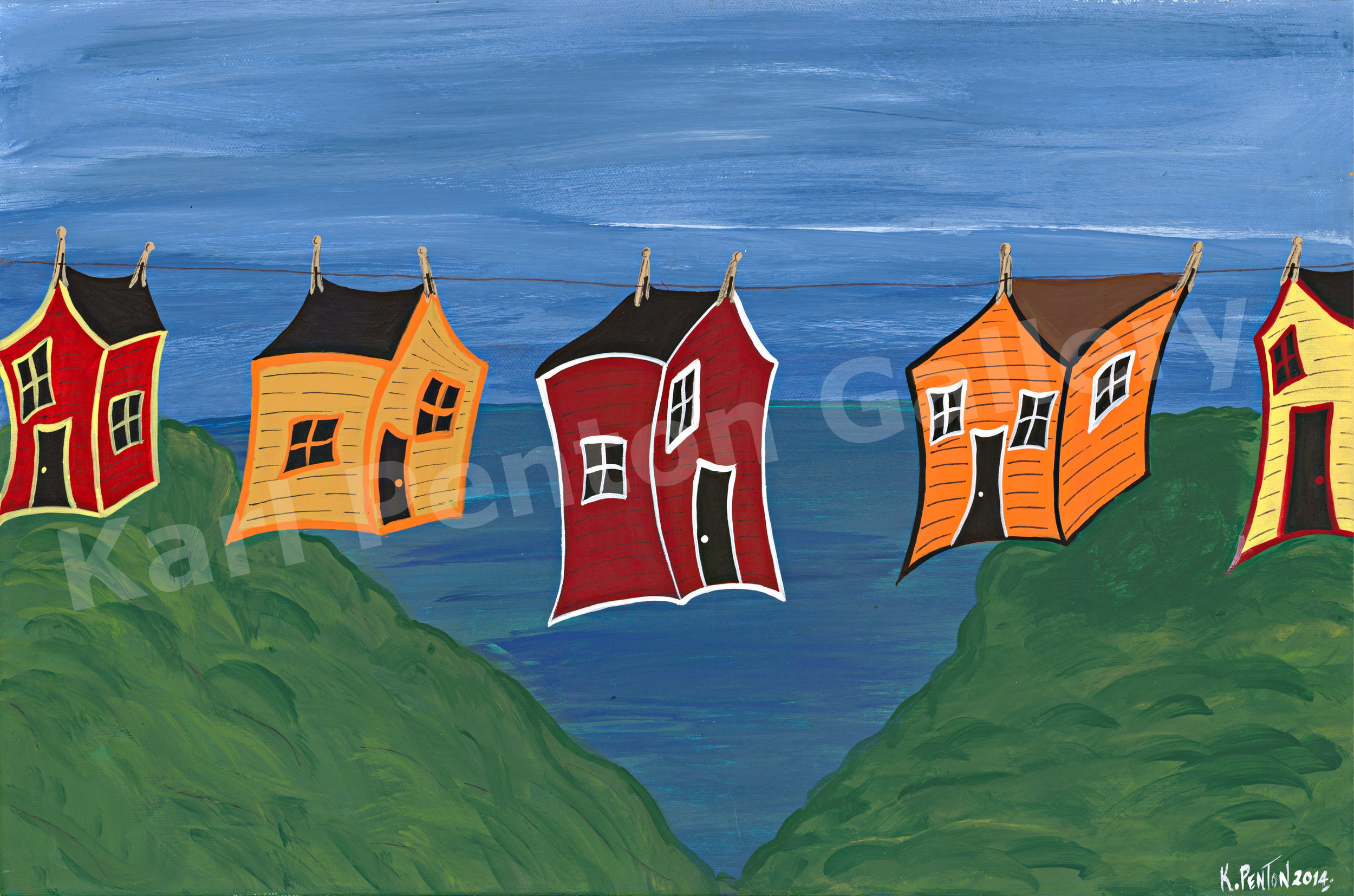 Blowin' in the Wind - Considered one of Karl's signature pieces, his whimsical painting captures the joy East Coasters feel about hanging out their clothes. If only we could hang our homes like quilts for that fresh clean sea breeze!(Original In Private Collection)