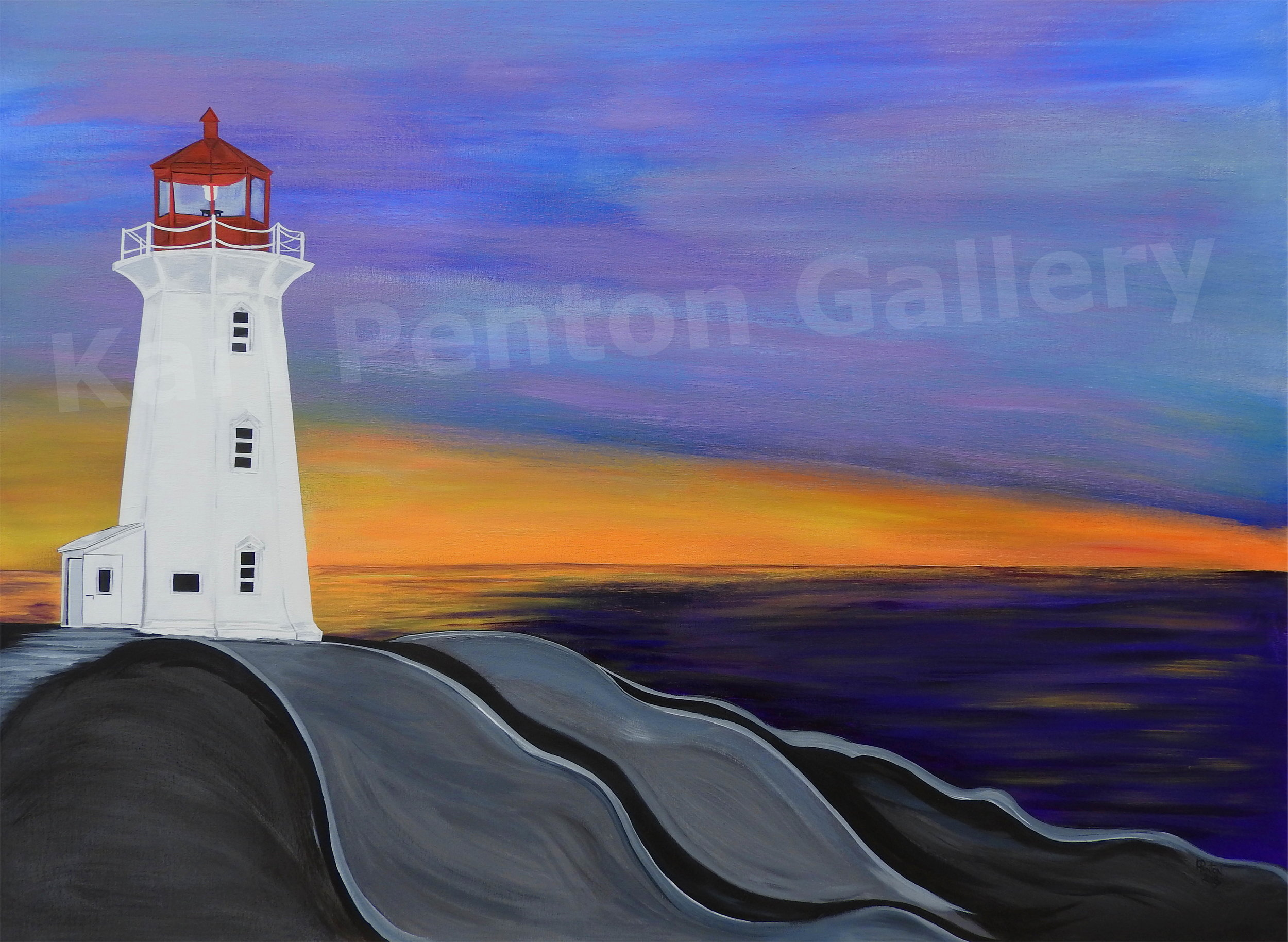 Sunset at Peggy's Cove - (Original In Private Collection)