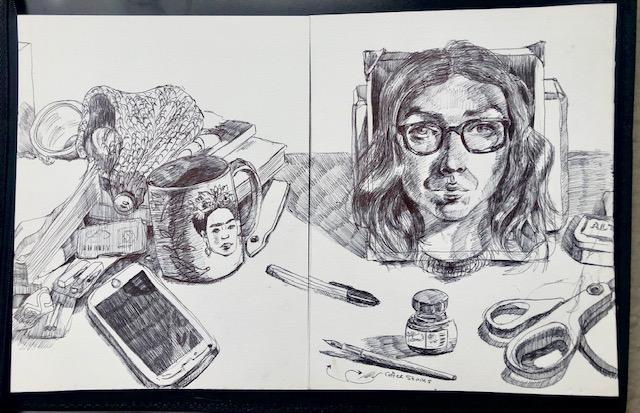 Self Portrait and Messy Desk