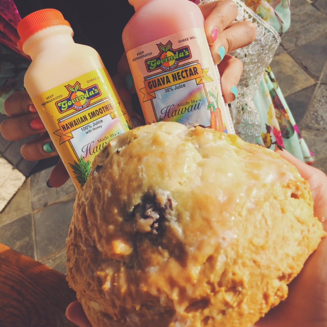 Breakfast of champs: blueberry cream cheese scones from Diamond Head bakery and some Govinda's juice to wash it all down.
