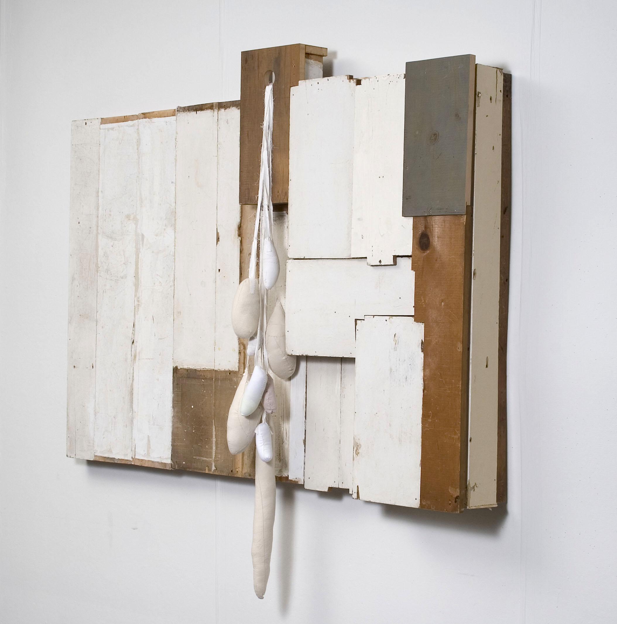 "Untitled. 2008, Wood, Sewn Fabric, Felt, 50"" x 49"" x 7"""