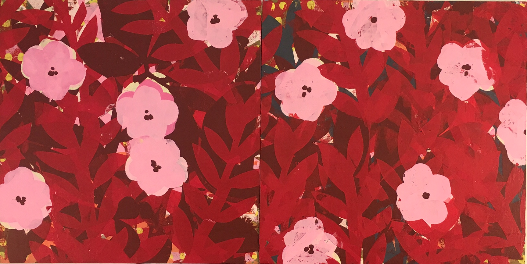 """Pink Poppies. 2017, Acrylic and Resin on Panel, 12' x 24"""""""