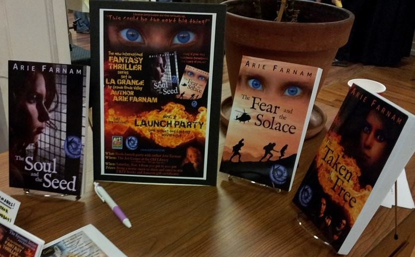 The Kyrennei Series  paperbacks and launch party poster