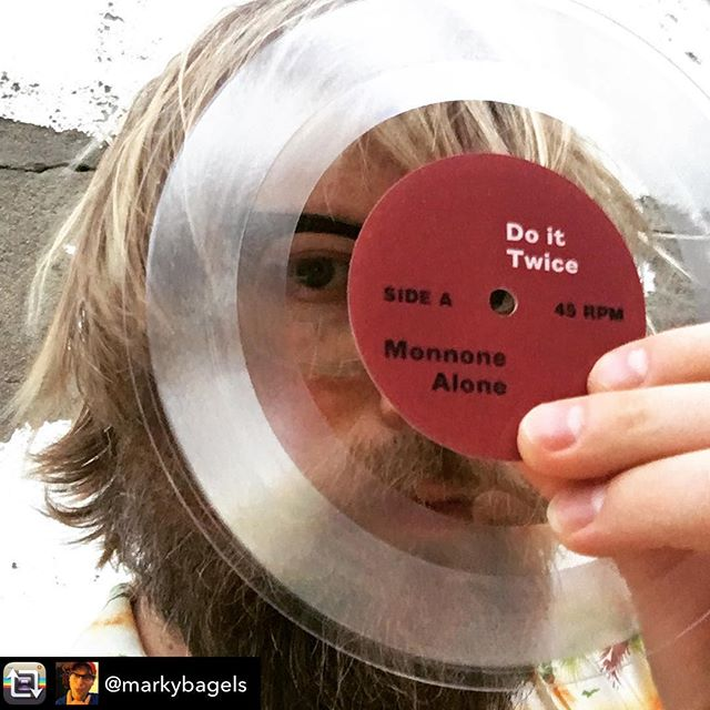 """Thanks mate! This is what gratitude looks like, the good vibes on this project are really energising and the LP coming is start to finish pop gold. @lostlonesome @emoresponse @meritoriorec 🤝Repost from @markybagels using @RepostRegramApp - Again with the peek-a-boo! We'll be launching this little character (c/w record cover) on March 29 at a shhh 'secret Collingwood location' with some true legends Full Ugly and Earache. Msg me for locations deets, etc... Also, while I've got the mic, I'd just like to say I'm really amazed at what a great job @royalmintrecords do with their supreme lathe cutting skills on short-run vinyl orders. These 7""""s sound seriously awesome. ❤️#unpaidadvertisement #monnonealone #doittwice #7inch #7inchvinyl #royalmintrecords #meritoriorecords #emotionalresponserecords #lostandlonesome #melbournebands"""
