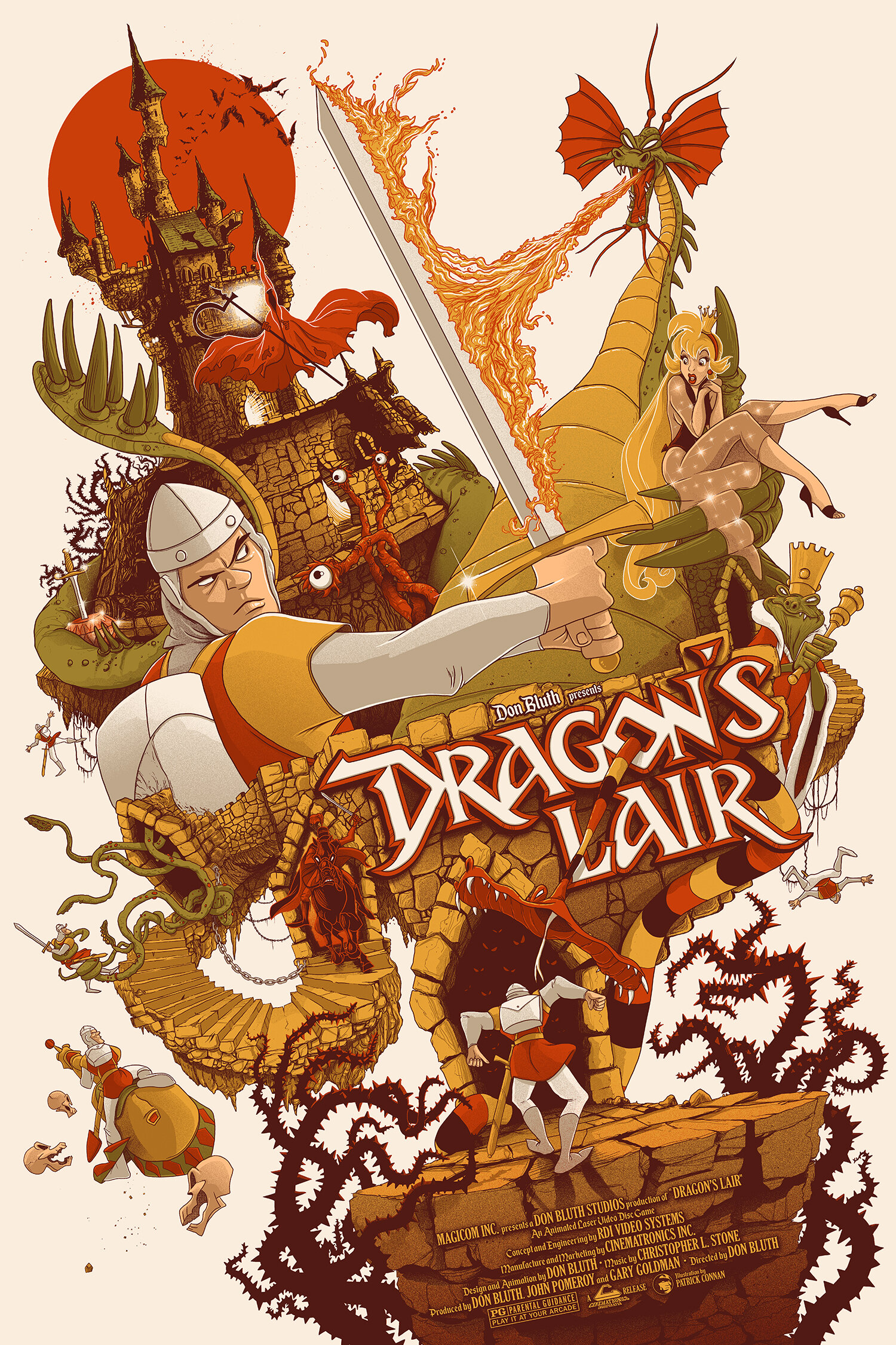 "Dirk The Dairing / Dragon's Lair   6 color Screenprint / 24""x36"" / from 55$"
