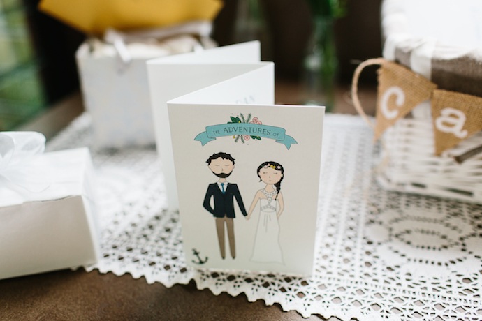 Nina is an extremely talented graphic designer, and she DIY'd the whole wedding! I adored the invites she designed with animated versions of her and Dan in their wedding outfits.