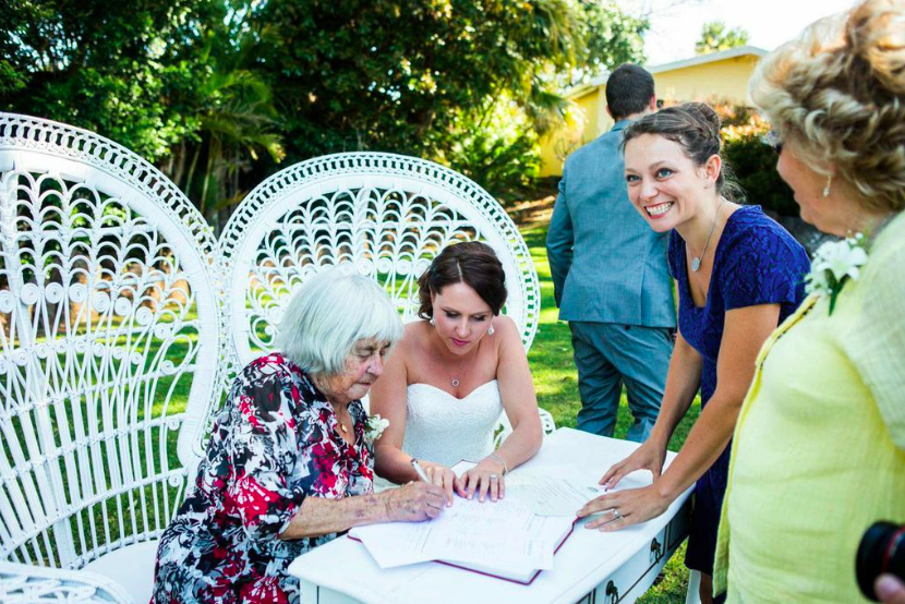 Sally and Blake had their grandmothers witness their marriage certificates. Photo:  Camilla Kirk