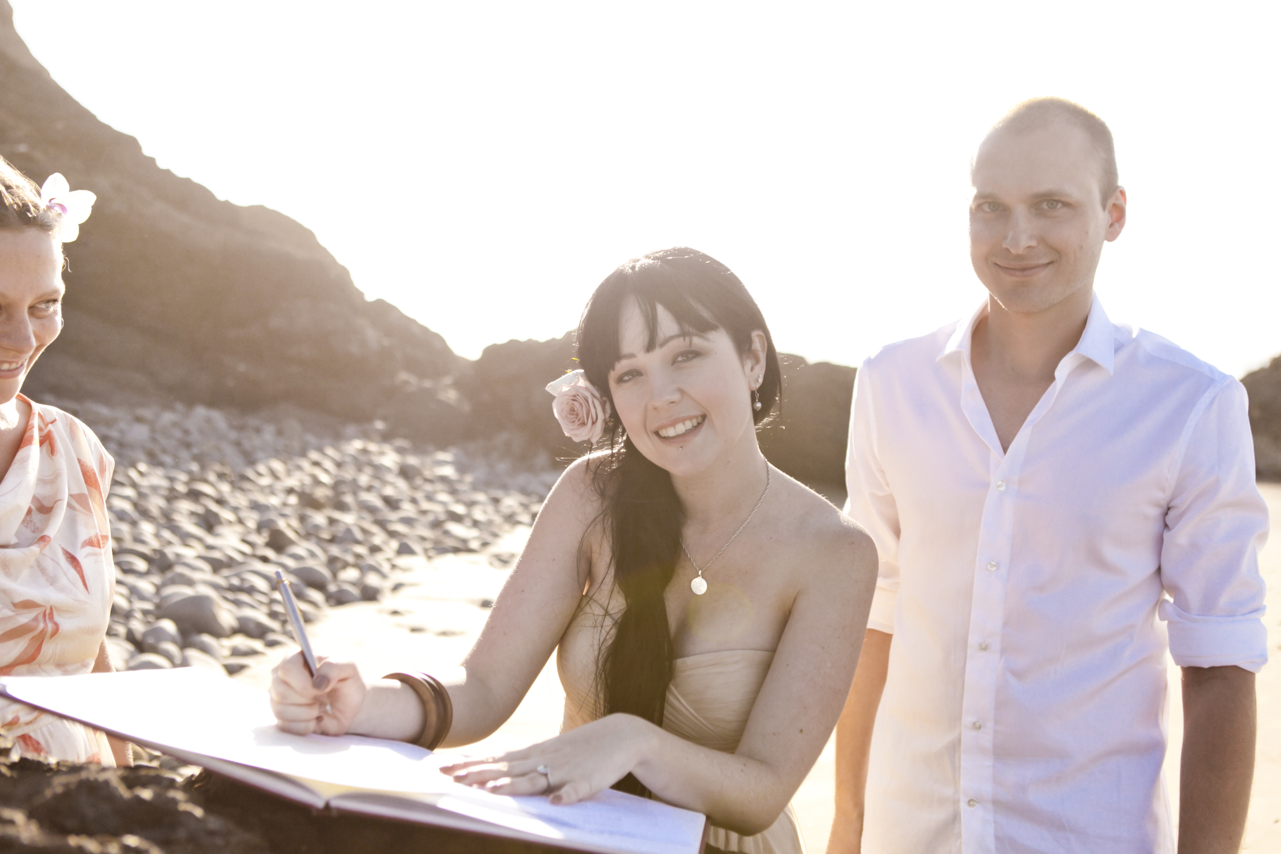 Amy and Harvey eloped at Little Wategos and signed on a rock. Photo from  Donatella Parisini.