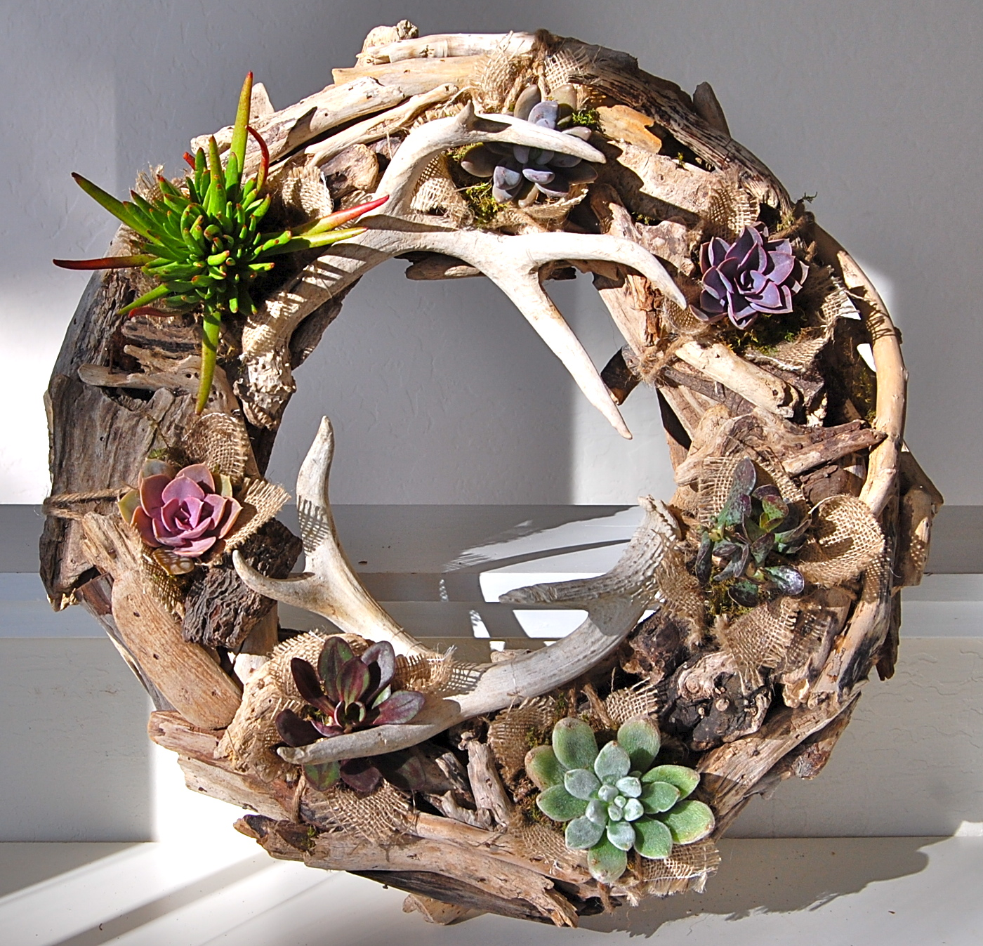 Replanted Existing Driftwood Wreath, Adding A Touch Of Burlap And Deer Antlers For Drama