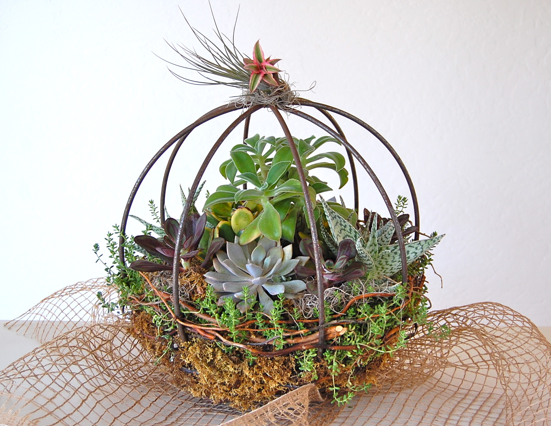 """15"""" Metal Orb- Centerpiece or Hanging Garden With Extension Hook"""