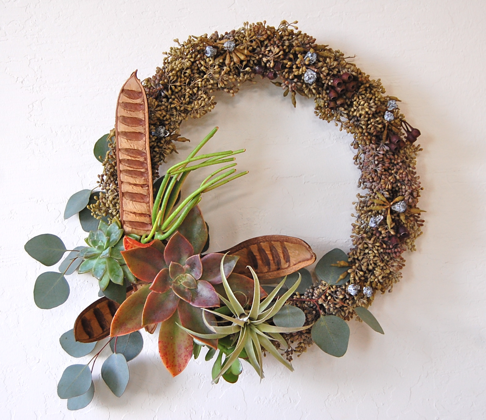 "EUCALYPTUS SEEDS WREATH   14""w  – $120."