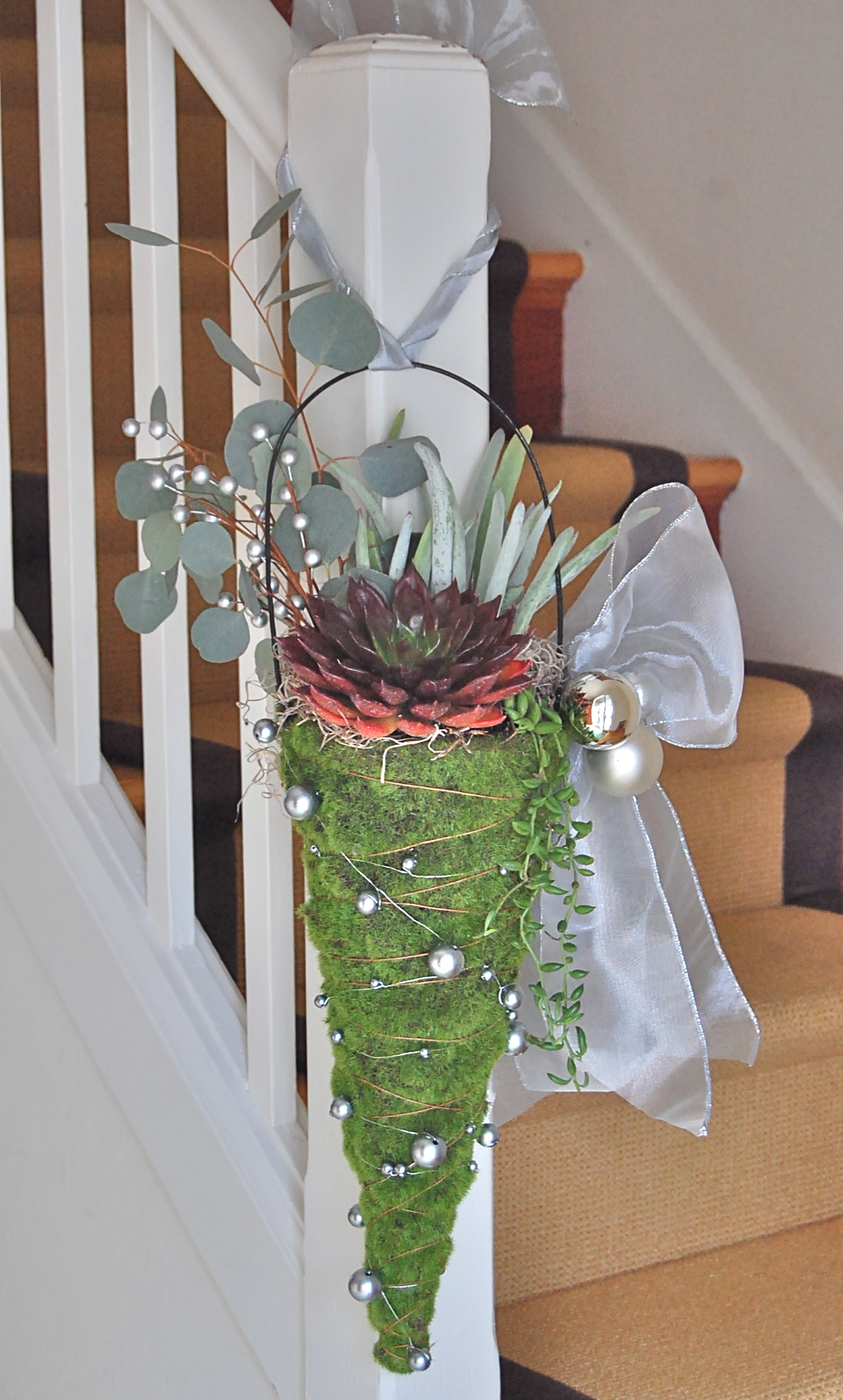 HANGING HOLIDAY MOSS CONE  (for banister,door, outside)   (sold out)