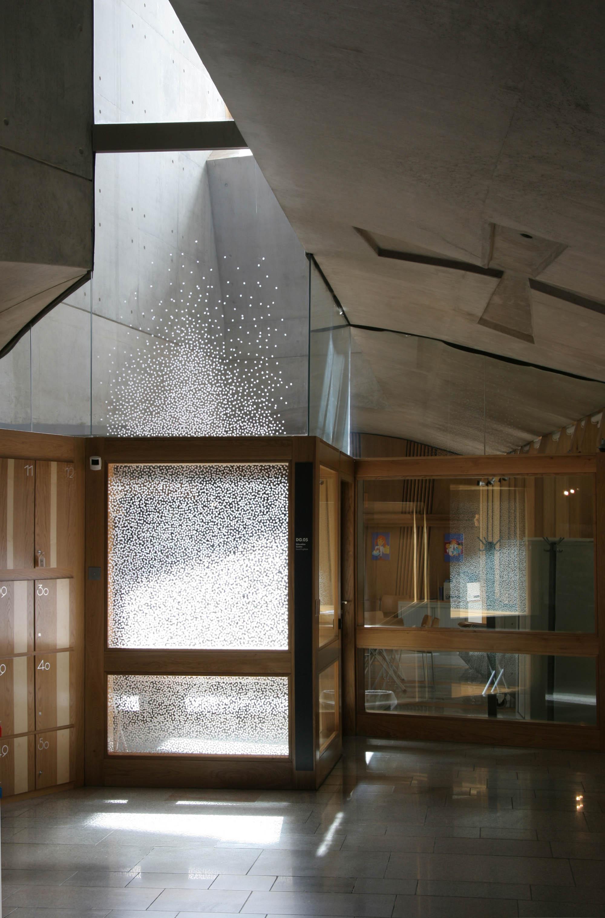 SAKURA   2007 H450, W150 cm Pigmented paper on glass Temporary installation at Scottish Parliament, Edinburgh UK