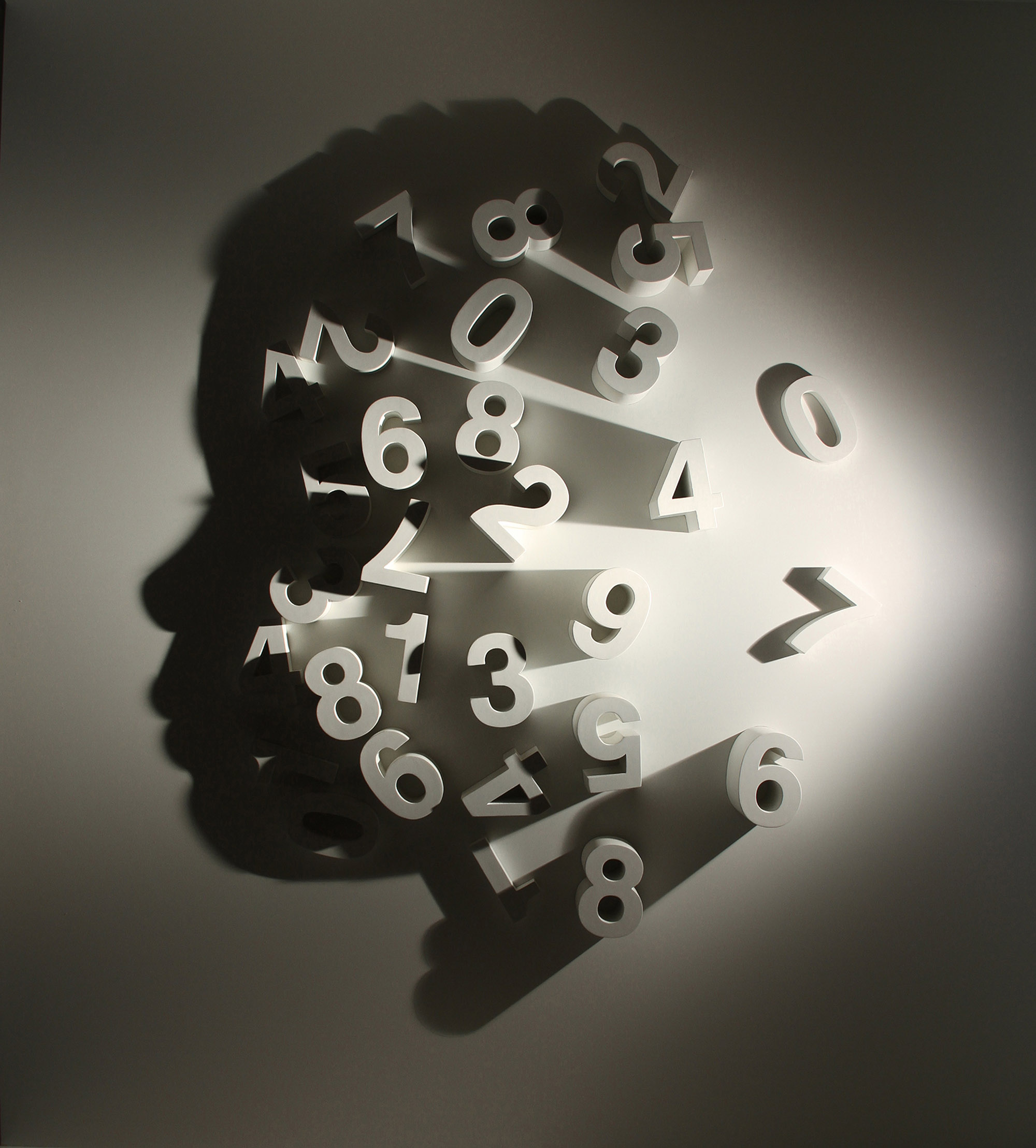 0 to 9    2011 H183, W183, D10 cm Carved wood, single light source, shadow Permanent Collection Le Meridien Shenyang, China