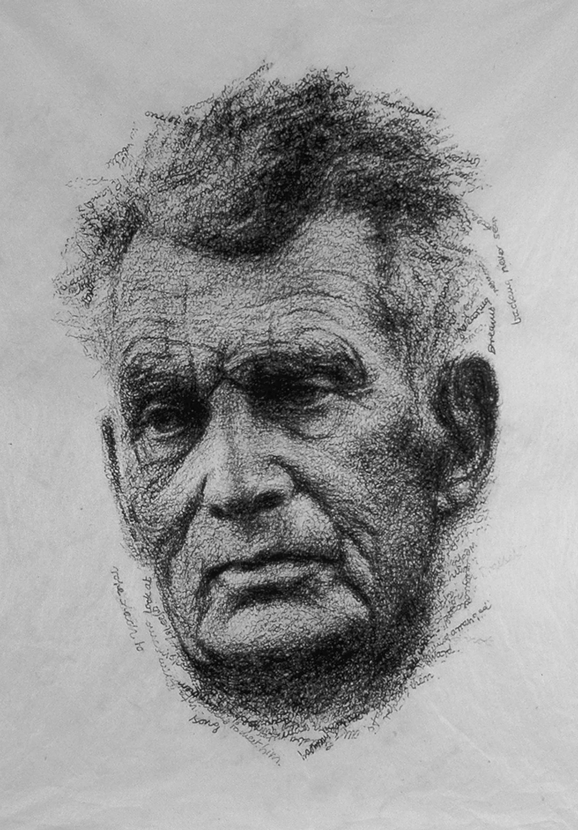 BECKETT IN HIS OWN WORDS   2000 H45, W35 cm Japanese paper, graphite Private collection