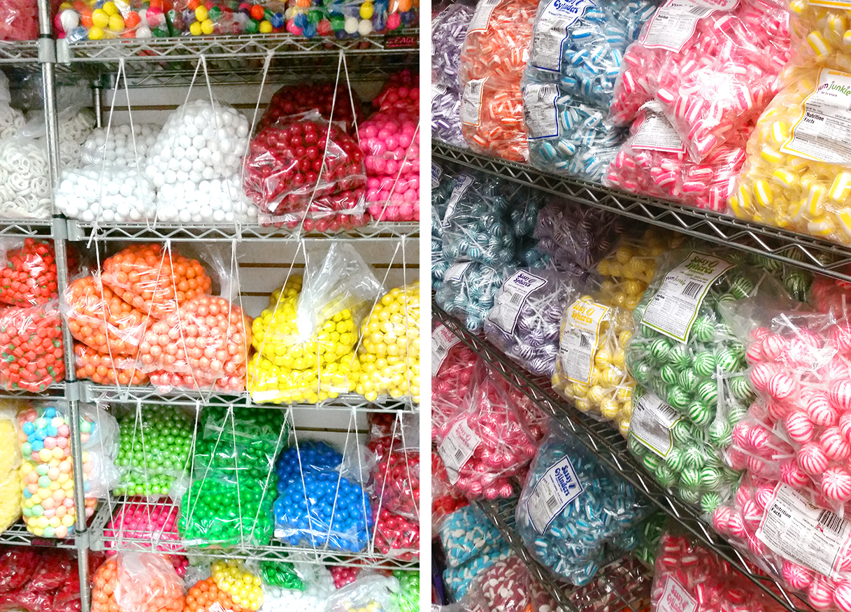 Every kind of candy is sorted by color, flavor, or wrapper. Many candies can be bought in smaller amounts, but some are only available in bulk quantities. These are gumballs and peppermints that were only available for wholesale accounts.