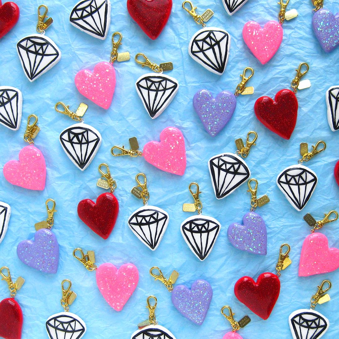 Diamond & glittering heart charms.