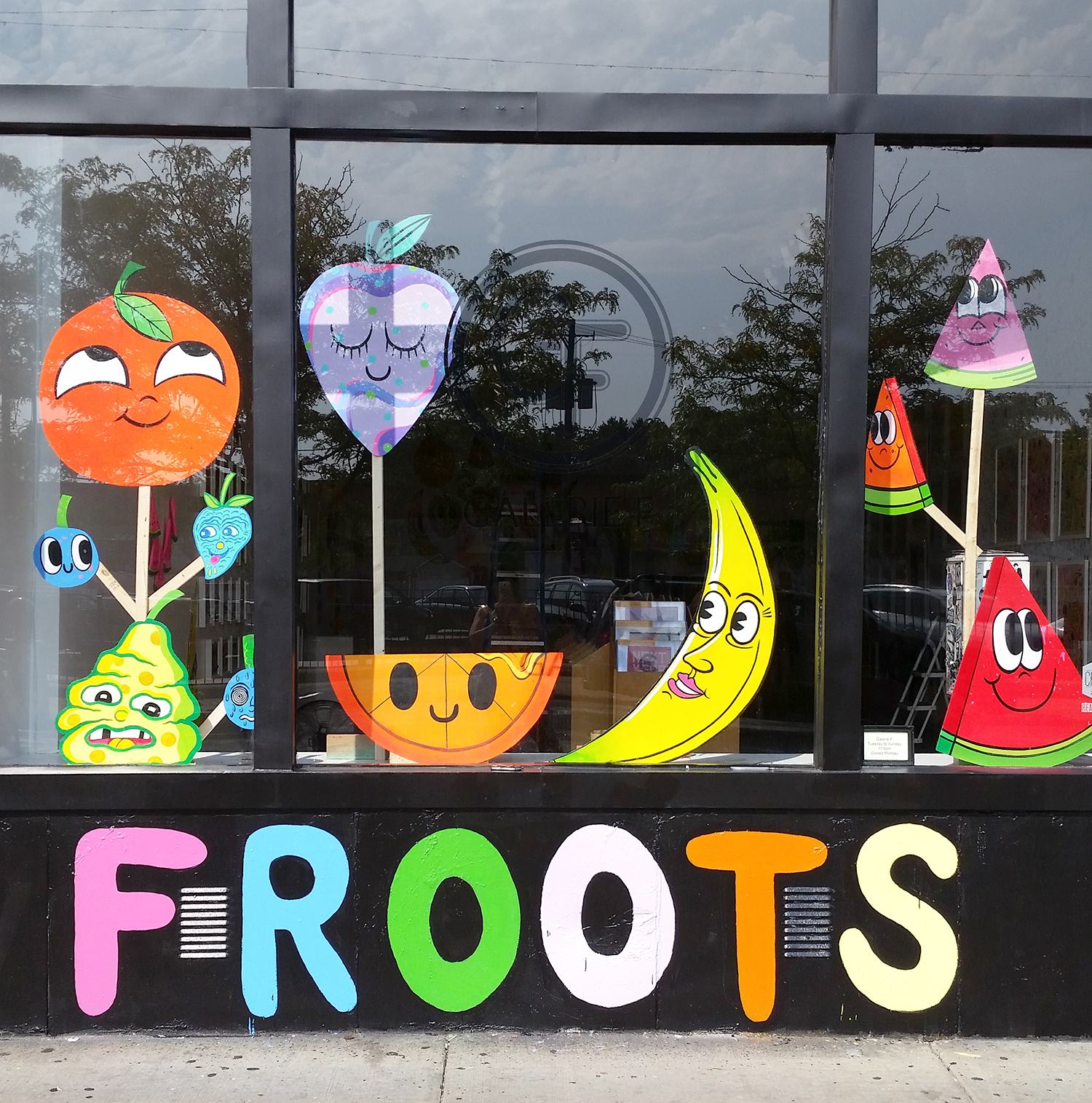 """Chris & Rob made these big wooden cutouts for the show, and the gallery let Rob paint """"Froots"""" on the exterior. I love how it came out, and people couldn't resist walking into the gallery even as we were installing the show."""